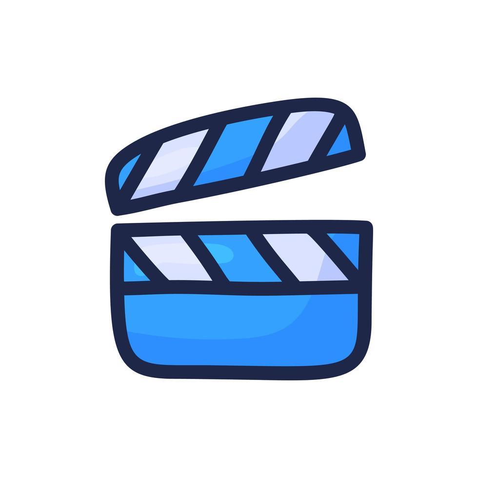einfache Gliederungsfarbsymbol der Filmvideoklappe lokalisiert auf Weiß. Cartoon Hand zeichnen Vektor-Illustration vektor