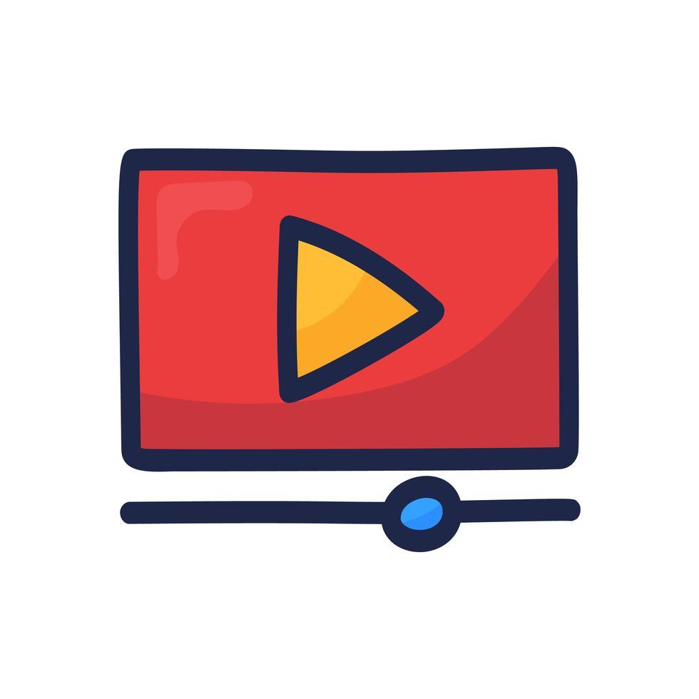 videospelare spela knapp enkel kontur färg ikon isolerad på vitt. tecknad hand rita vektorillustration vektor