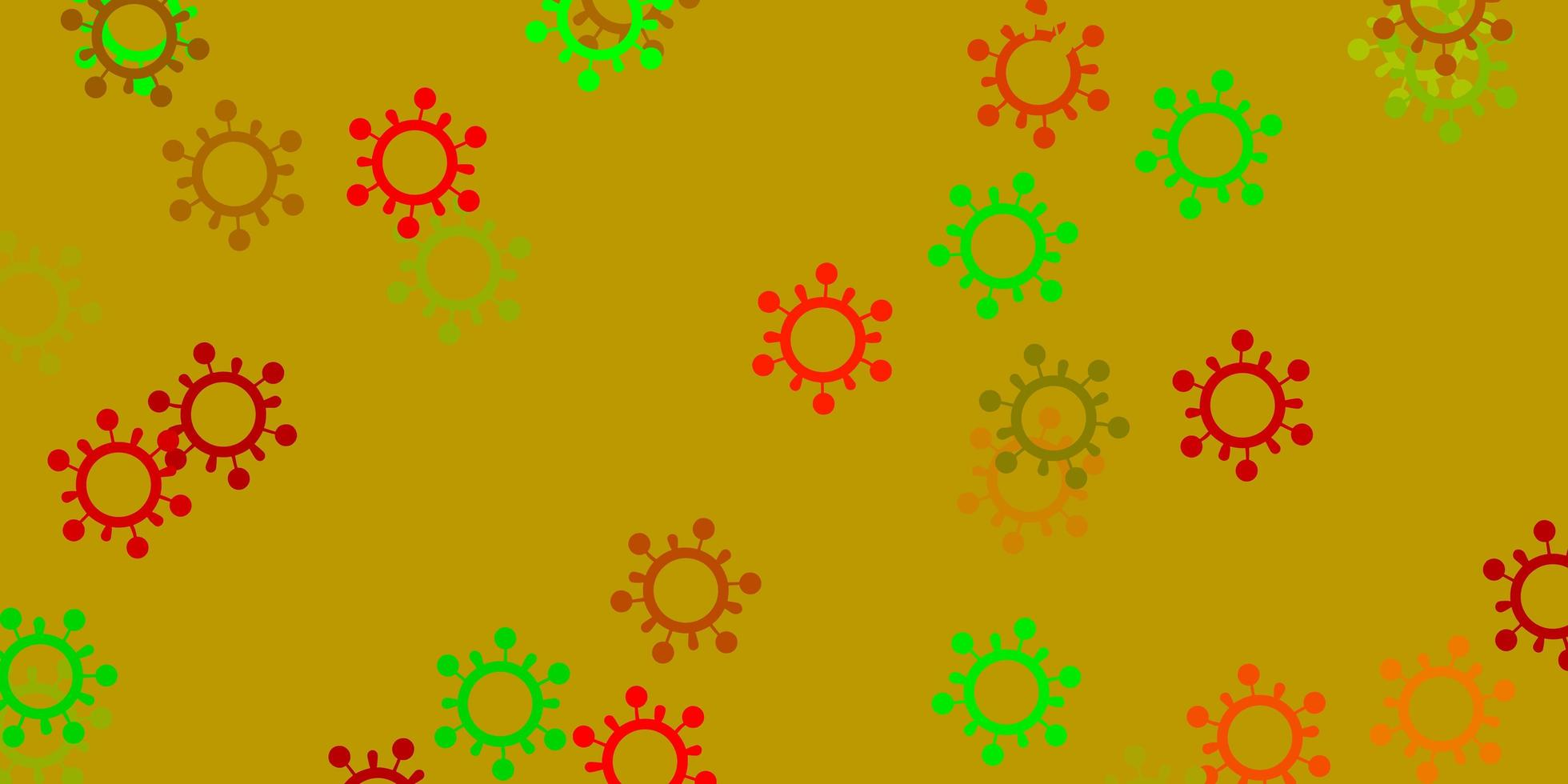 hellgrünes, rotes Vektormuster mit Coronavirus-Elementen. vektor