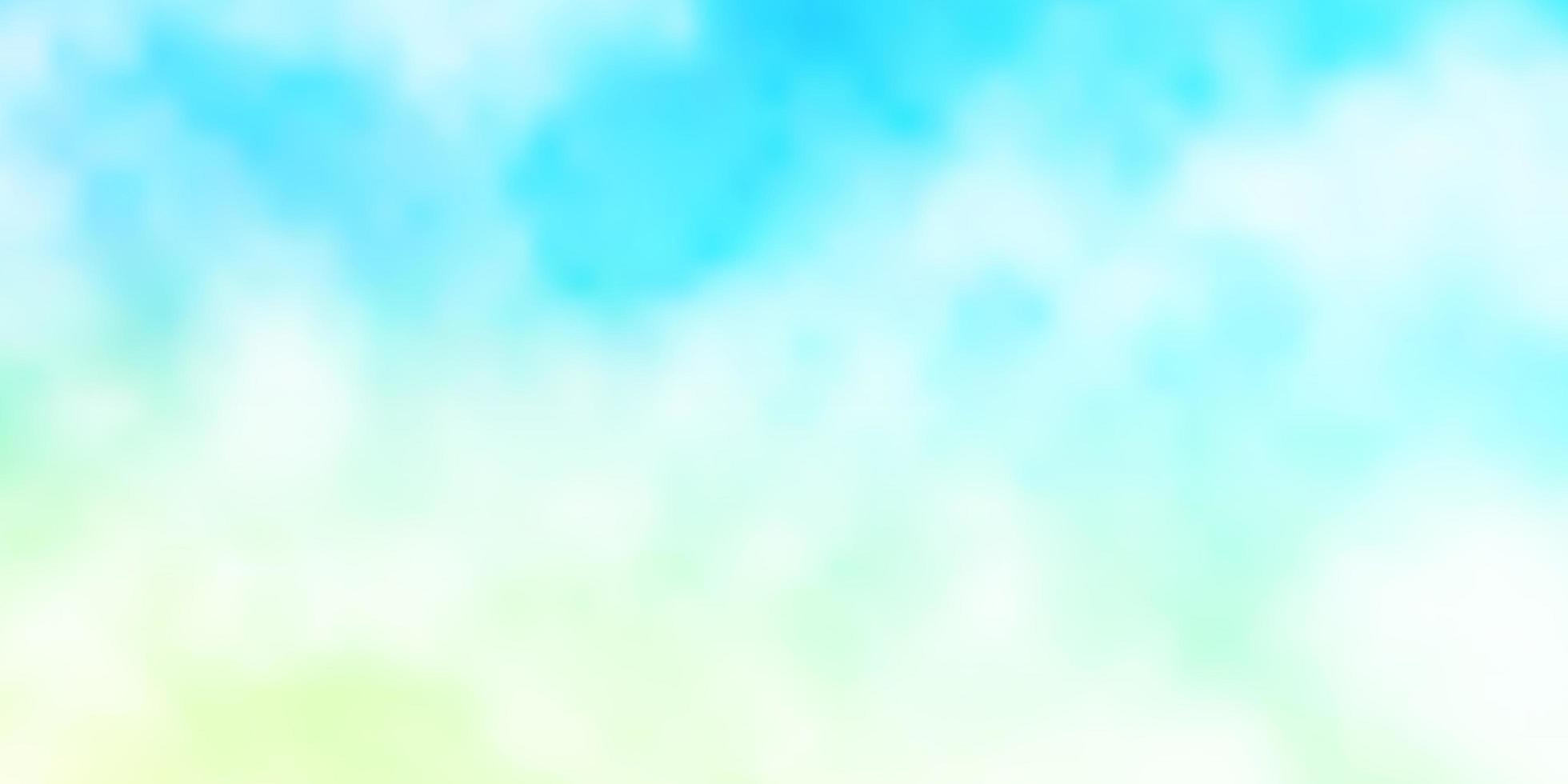 hellblaues, grünes Vektorlayout mit Wolkenlandschaft. vektor