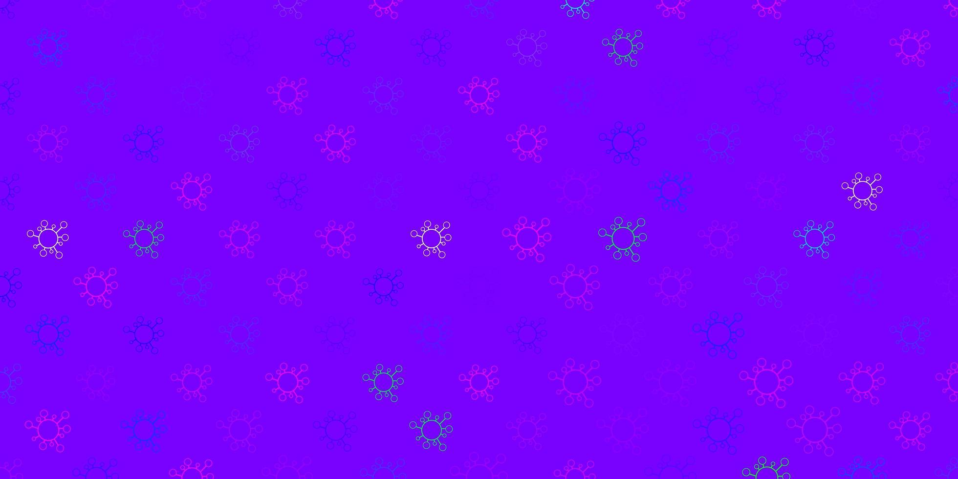 mörkrosa, blå vektormönster med coronaviruselement. vektor