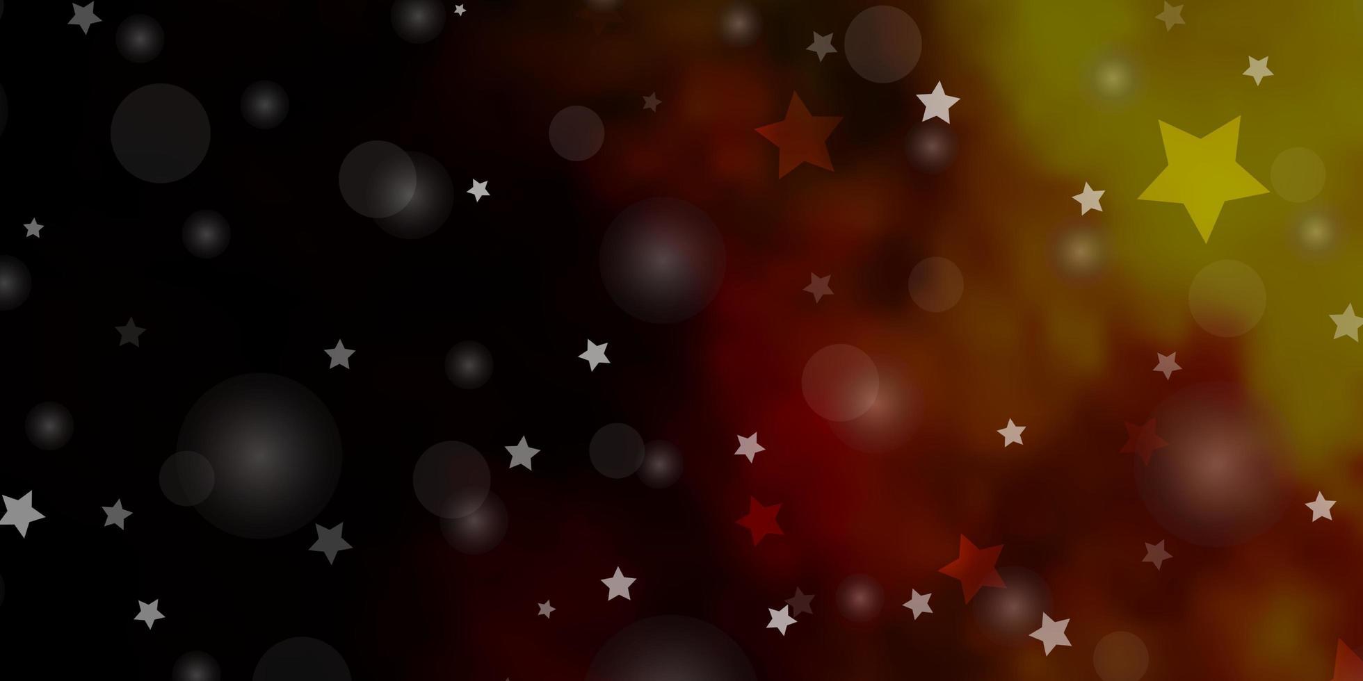 dunkelrote, gelbe Vektorschablone mit Kreisen, Sternen. vektor