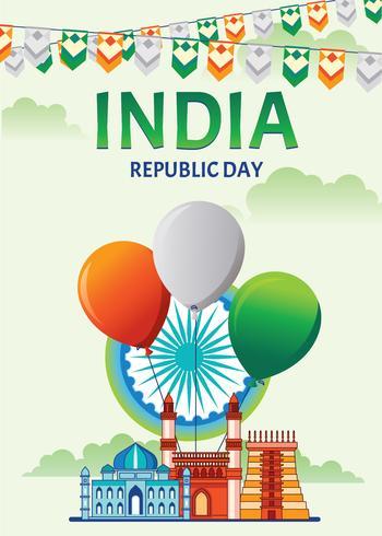Glückliches indisches Tag der Republik-Feier-Plakat oder Fahne auf grünem Hintergrund vektor