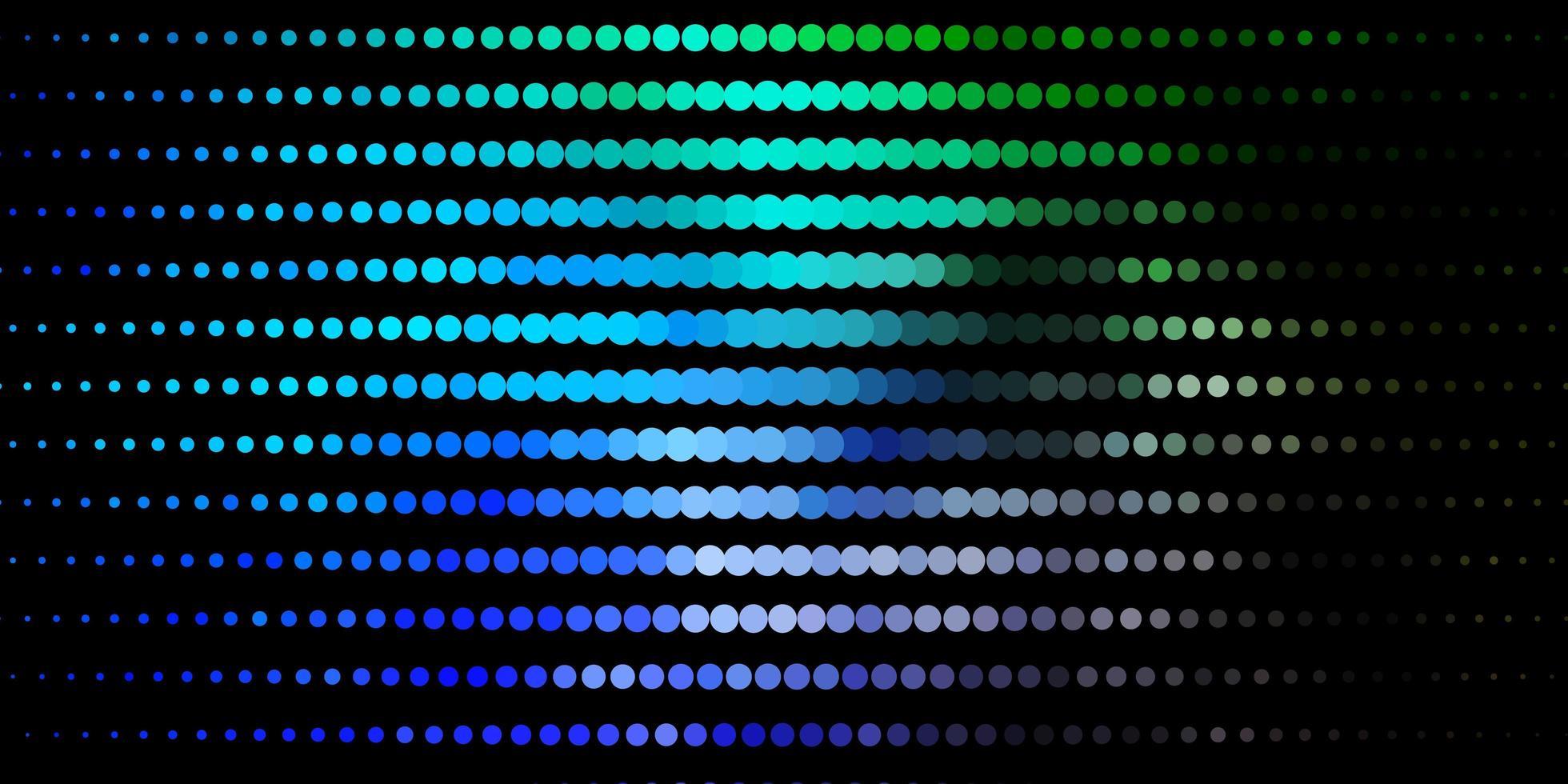 dunkelblaues, grünes Vektorlayout mit Kreisformen. vektor
