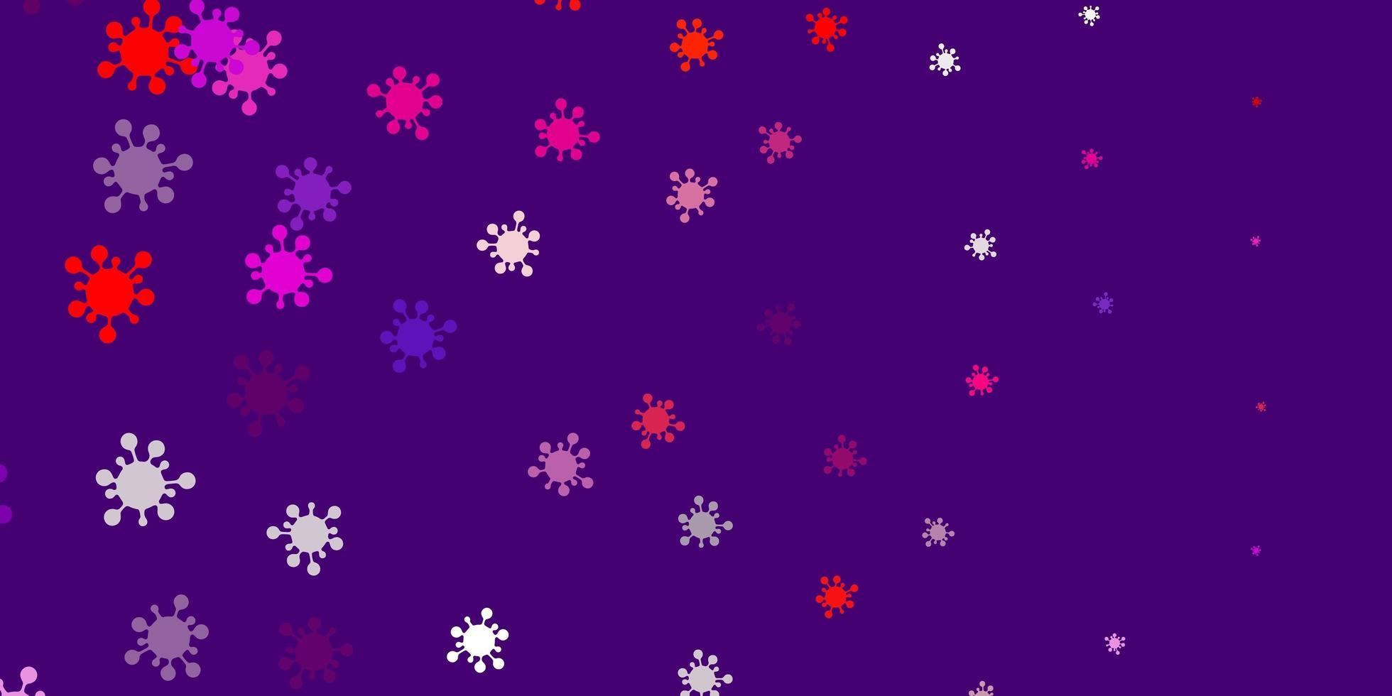 ljusrosa, röd vektor bakgrund med virussymboler.