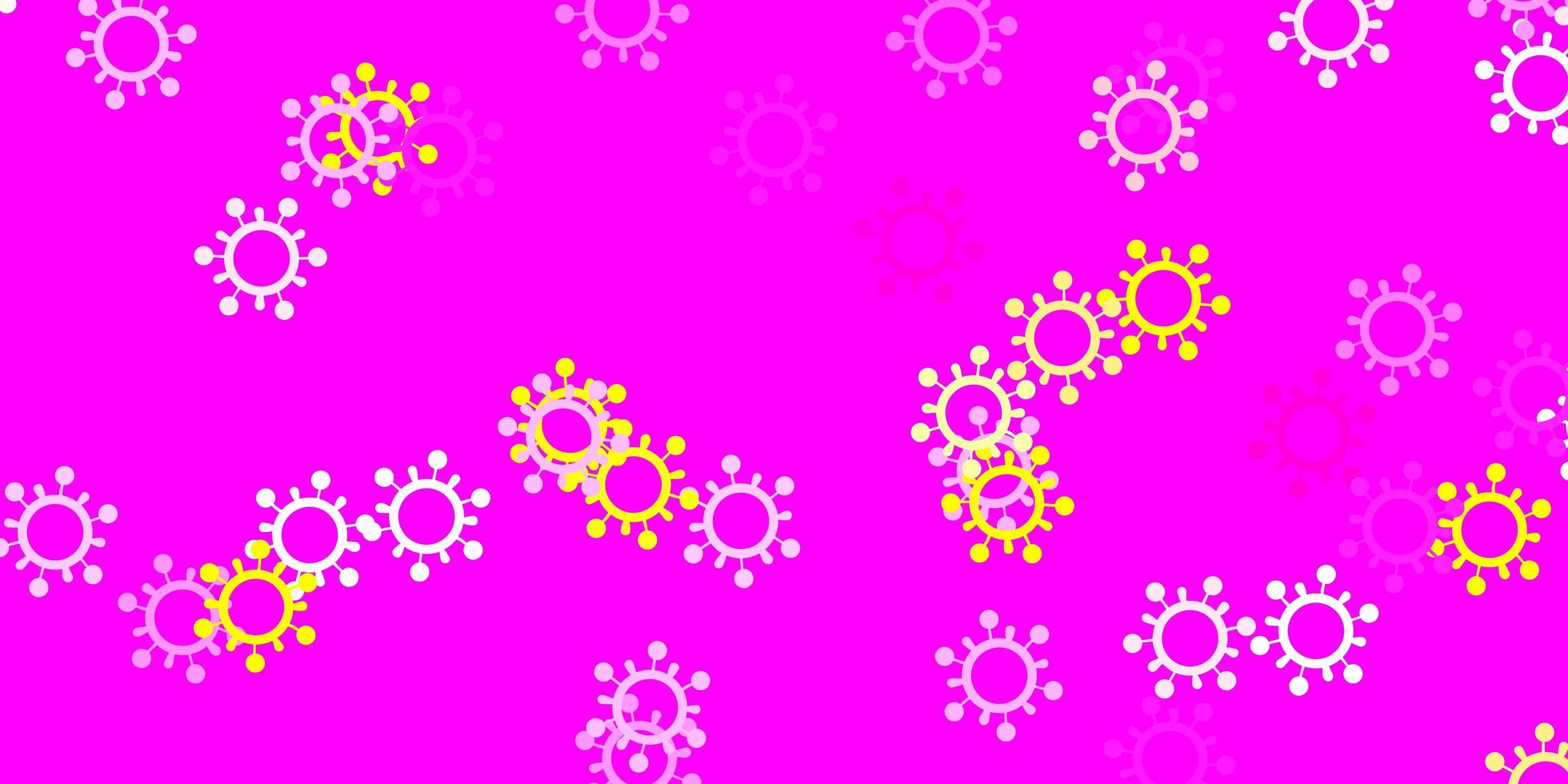 hellrosa, gelber Vektorhintergrund mit covid-19 Symbolen. vektor