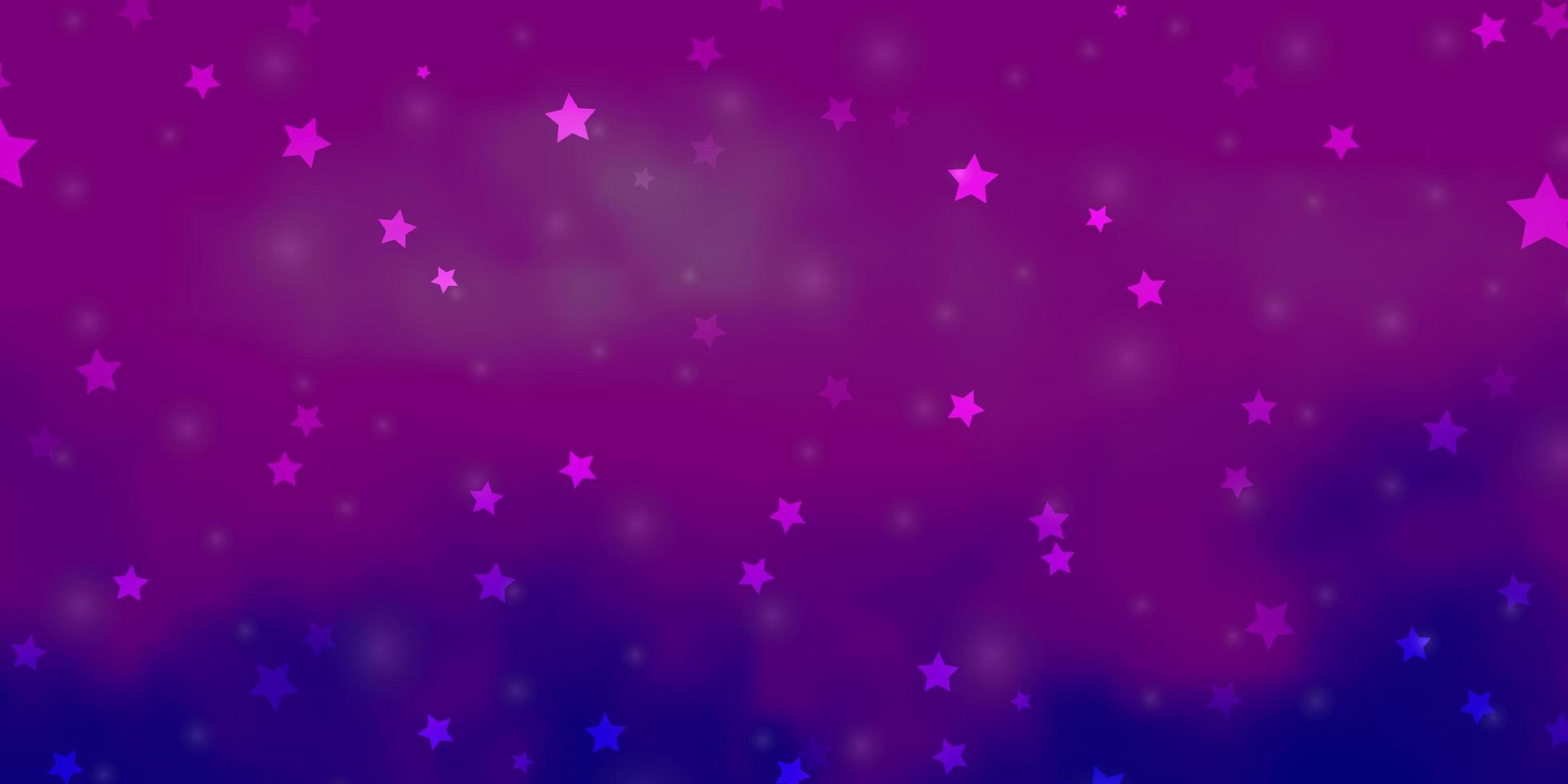 hellrosa, blaues Vektorlayout mit hellen Sternen. vektor