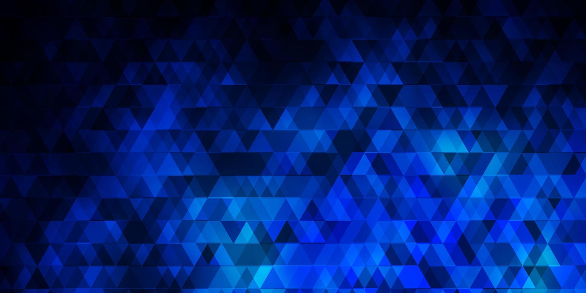 dunkelblaue Vektorschablone mit Linien, Dreiecken. vektor