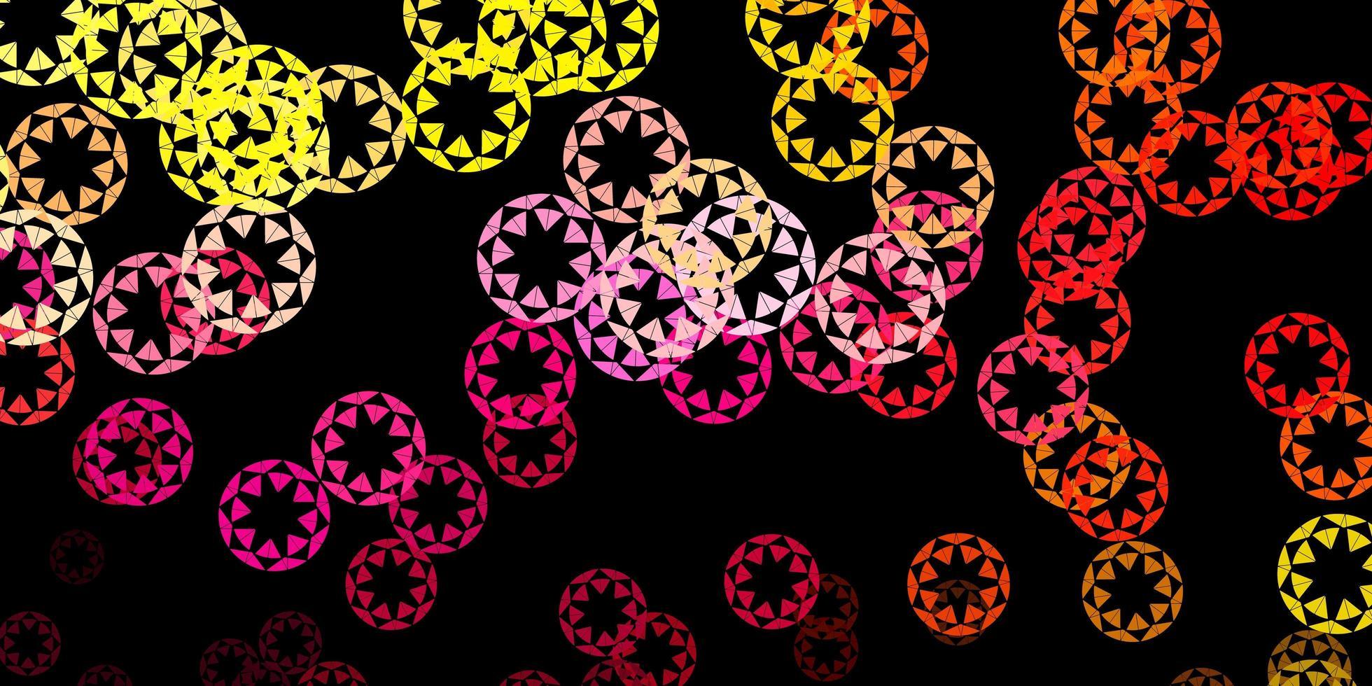 dunkelrosa, gelber Vektorhintergrund mit Blasen. vektor