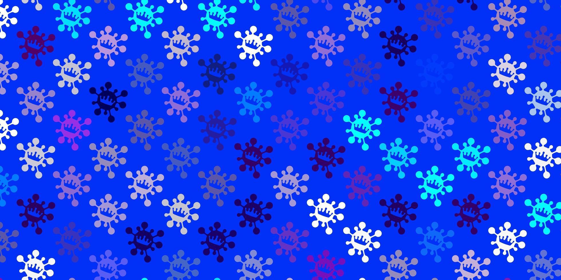 hellrosa, blauer Vektorhintergrund mit Virensymbolen vektor