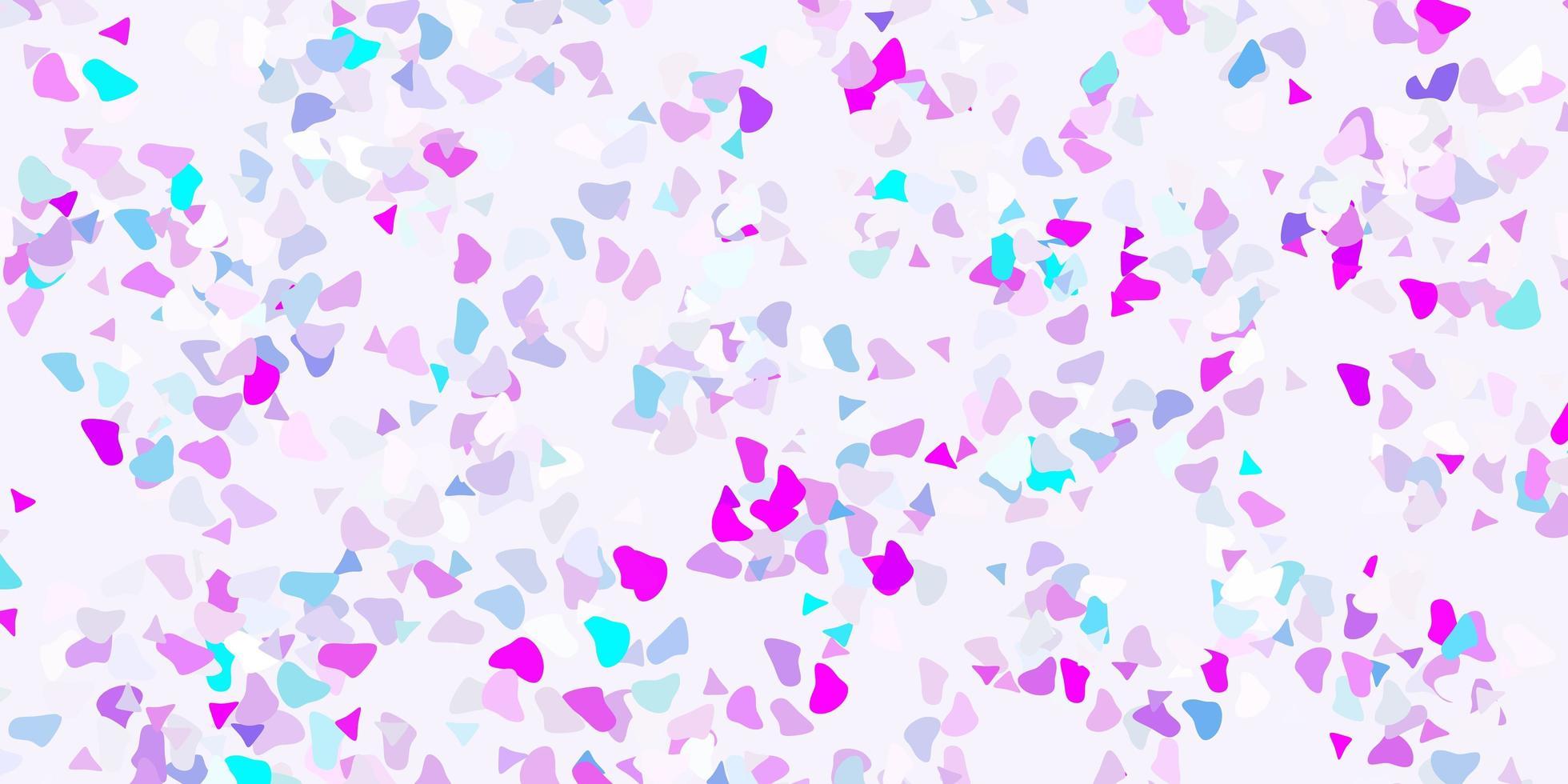 ljusrosa, blå vektorbakgrund med kaotiska former. vektor
