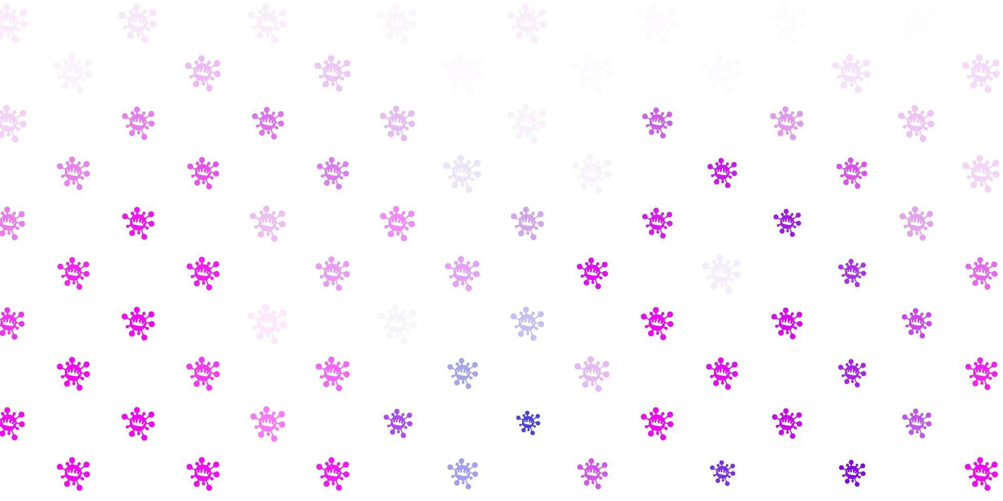 hellrosa, blauer Vektorhintergrund mit Virensymbolen. vektor