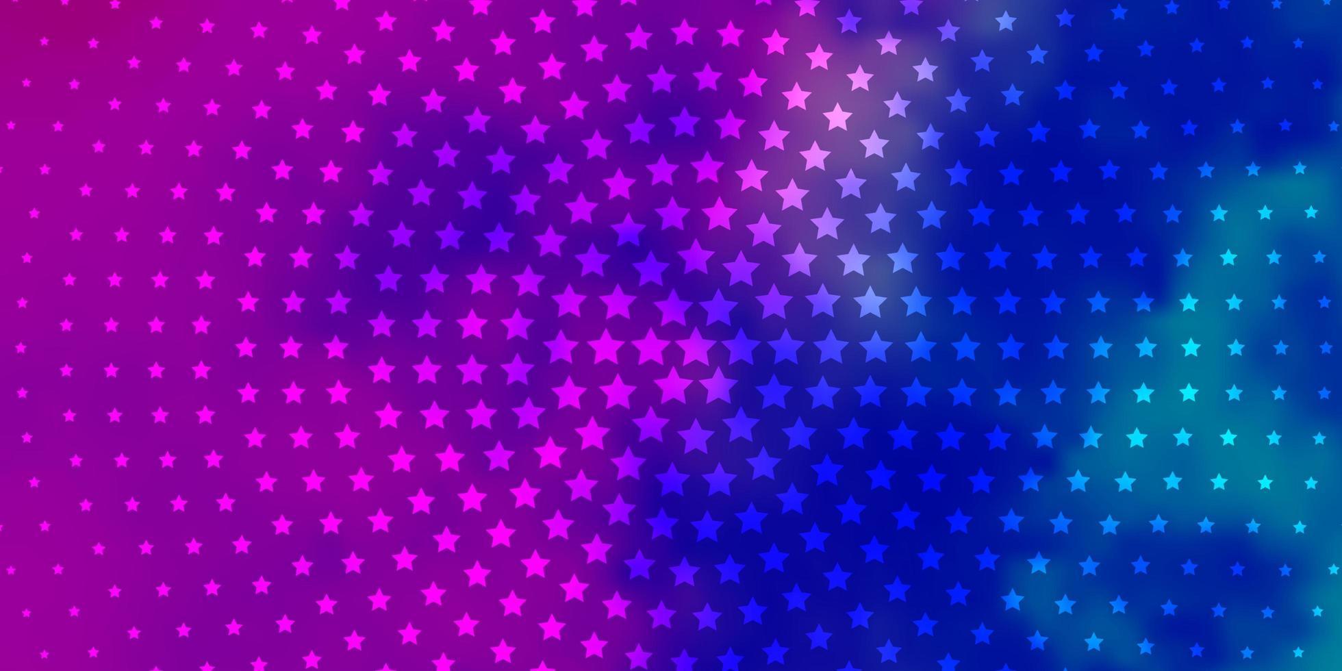 hellrosa, blaue Vektorschablone mit Neonsternen. vektor