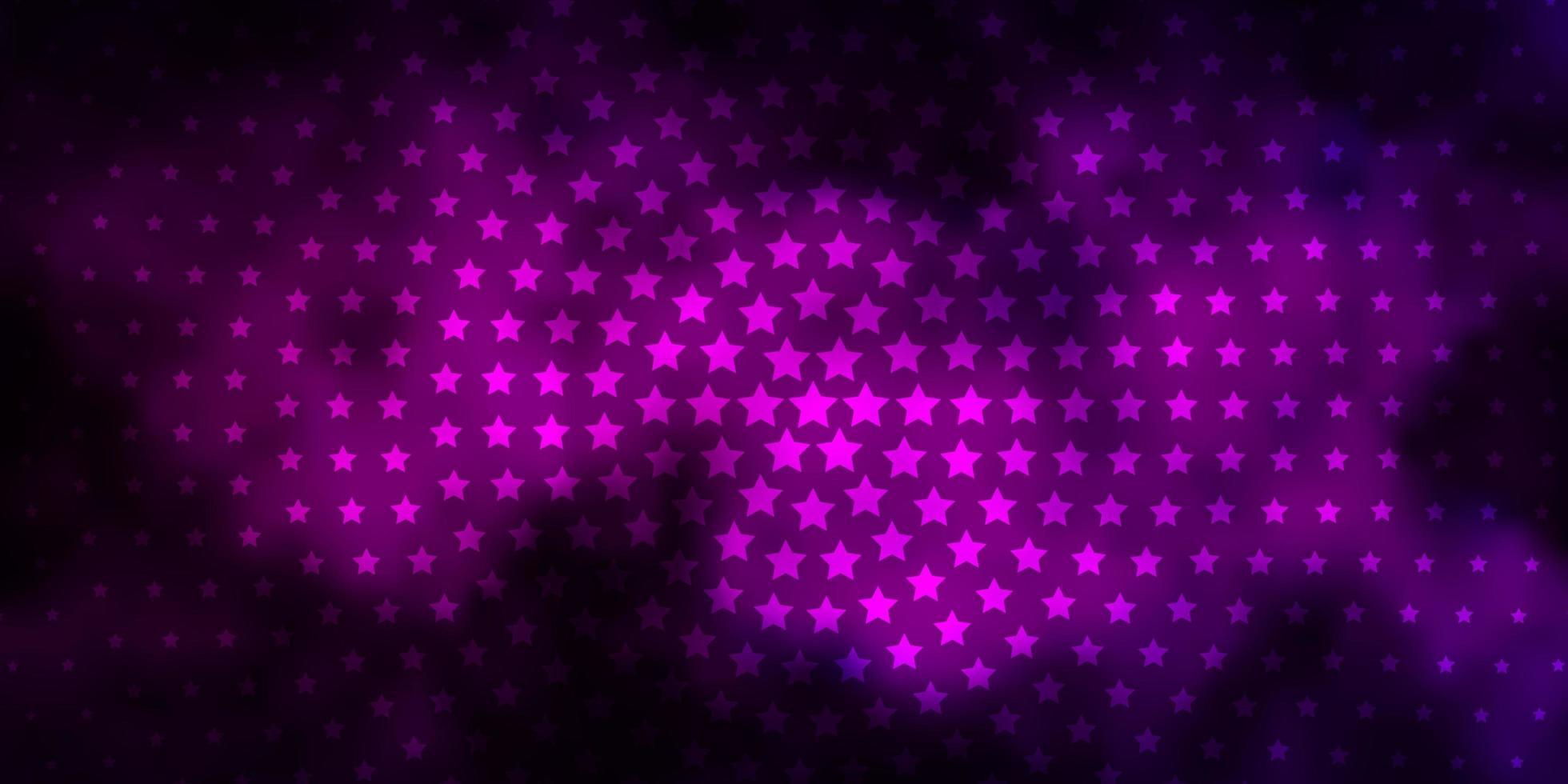 dunkelrosa Vektorlayout mit hellen Sternen. vektor