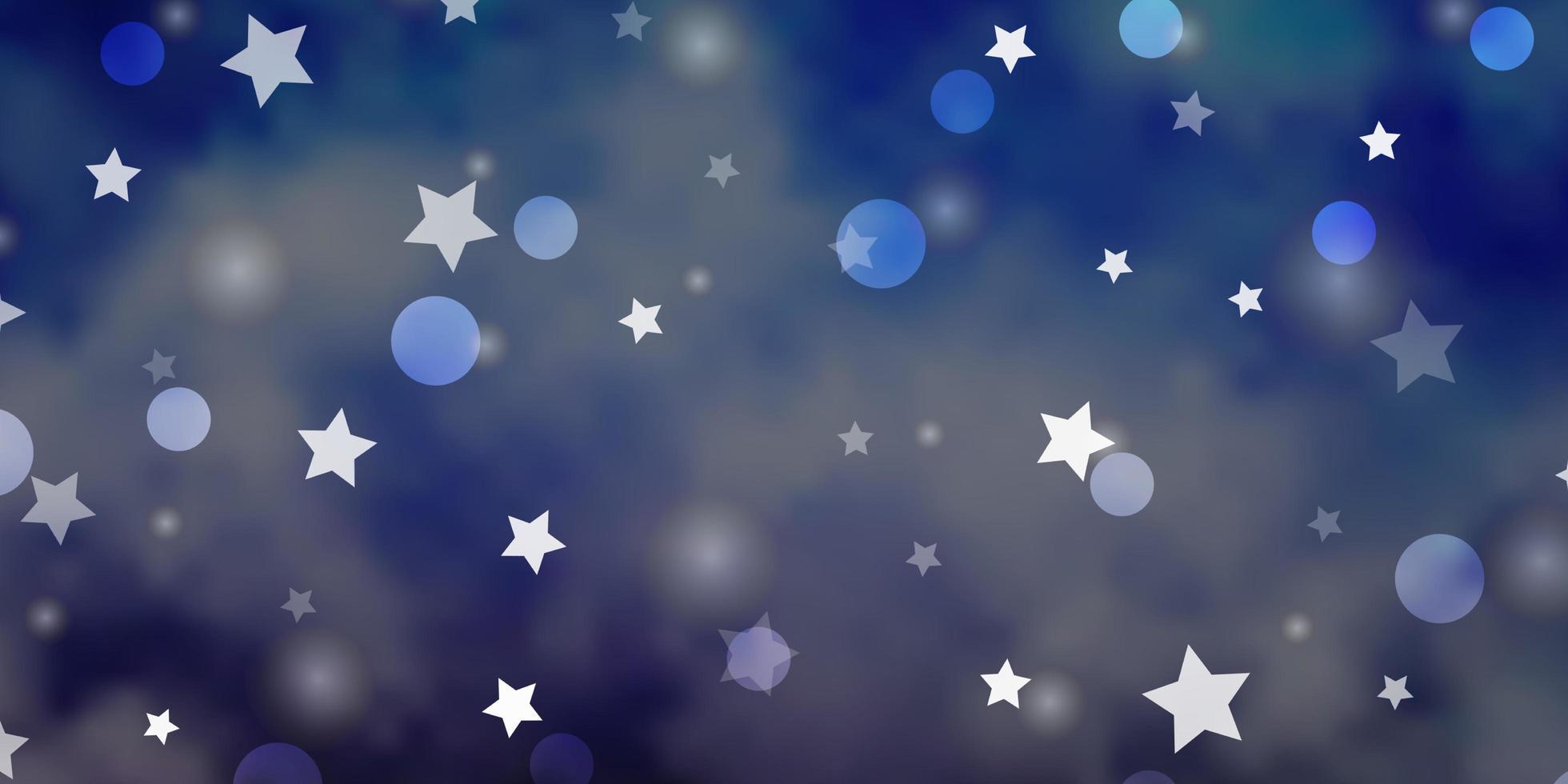 hellvioletter Vektorhintergrund mit Kreisen, Sternen. vektor