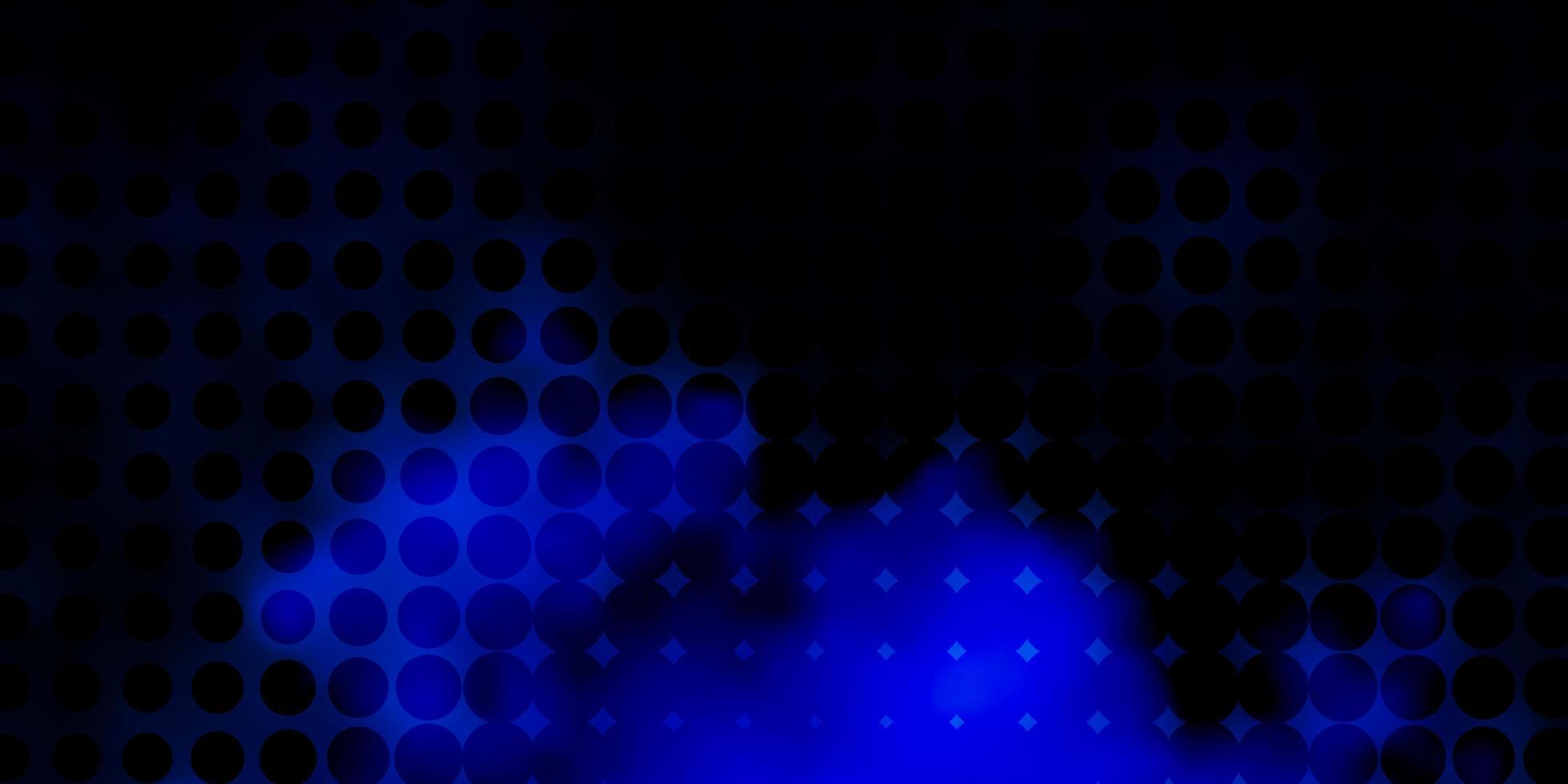 dunkelblaue Vektorschablone mit Kreisen. vektor