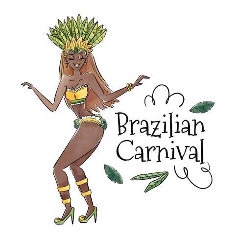 Sexig brasiliansk dansare med löv vektor