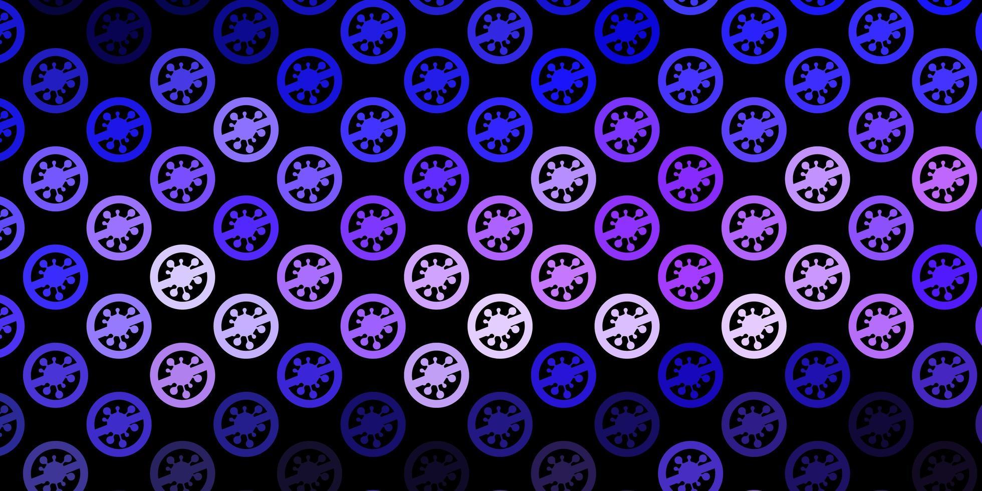 mörk lila vektor bakgrund med covid-19 symboler.