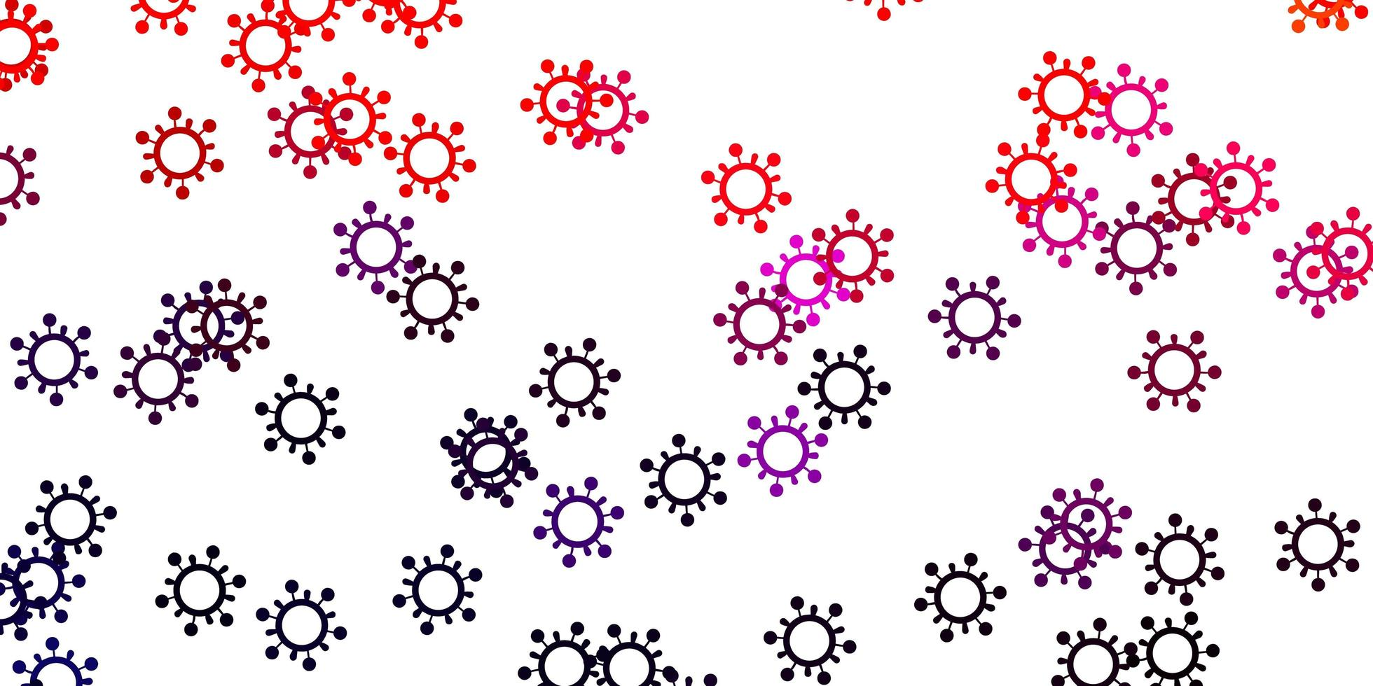 hellrosa, roter Vektorhintergrund mit Virensymbolen. vektor