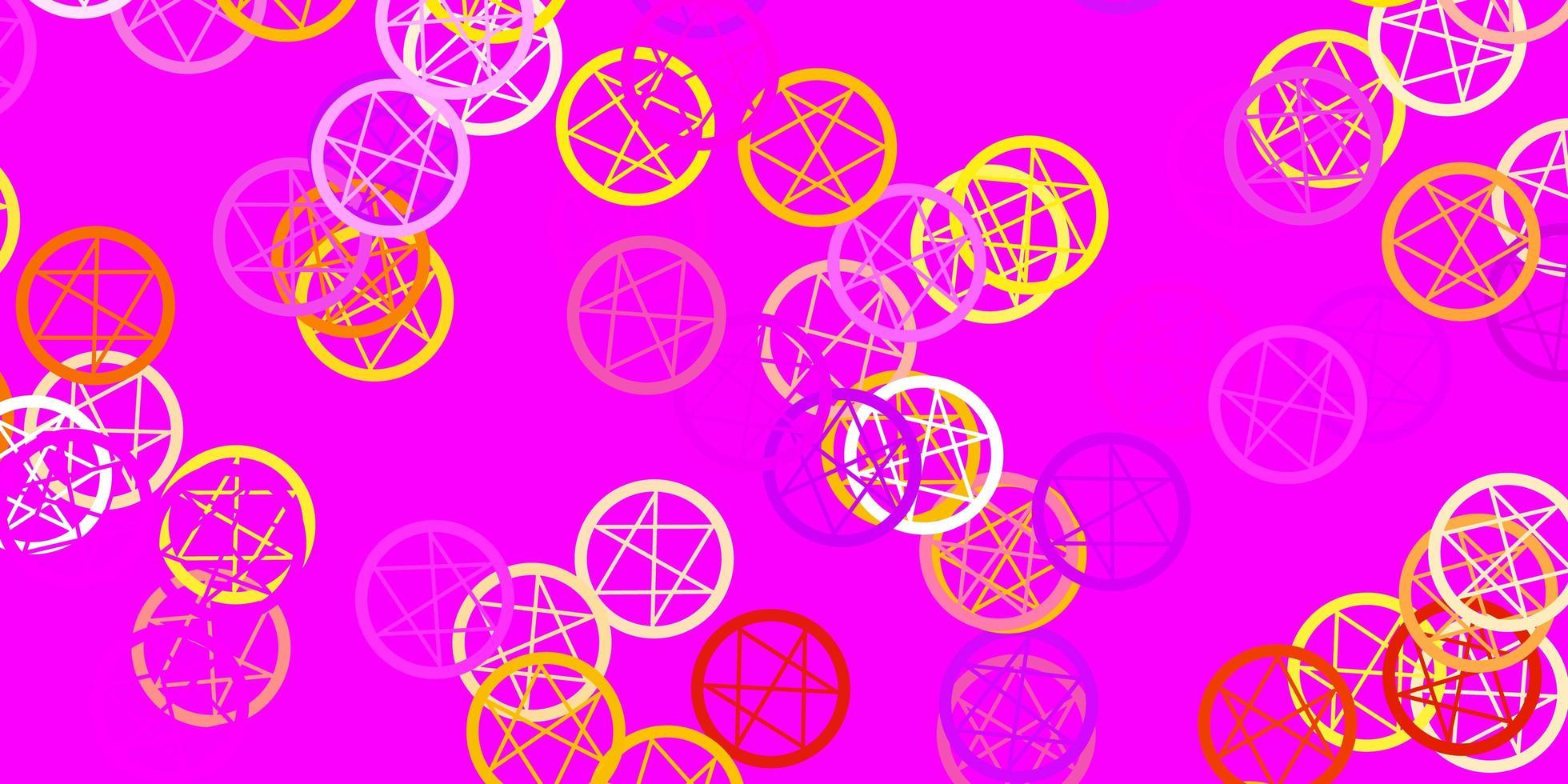 hellrosa, gelber Vektorhintergrund mit okkulten Symbolen. vektor