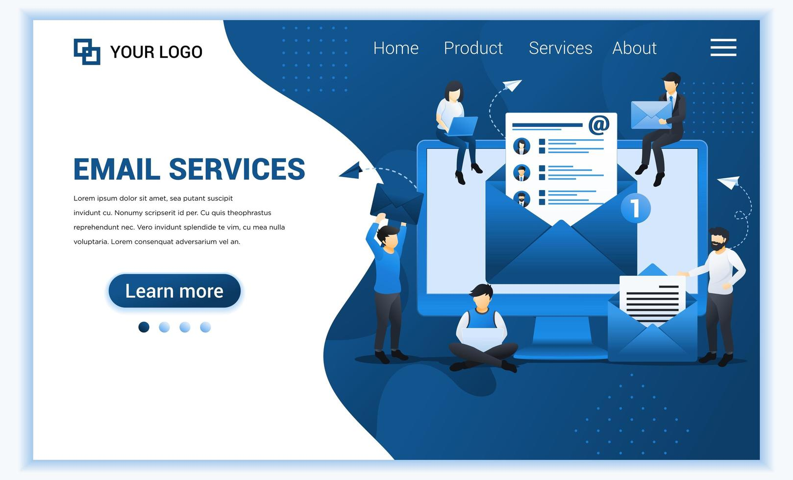 målsidesmall för e-postmarknadsföring, e-posttjänster med människor som arbetar på enheten. modernt platt webbdesignkoncept för webbplats och mobilwebbplats. vektor illustration
