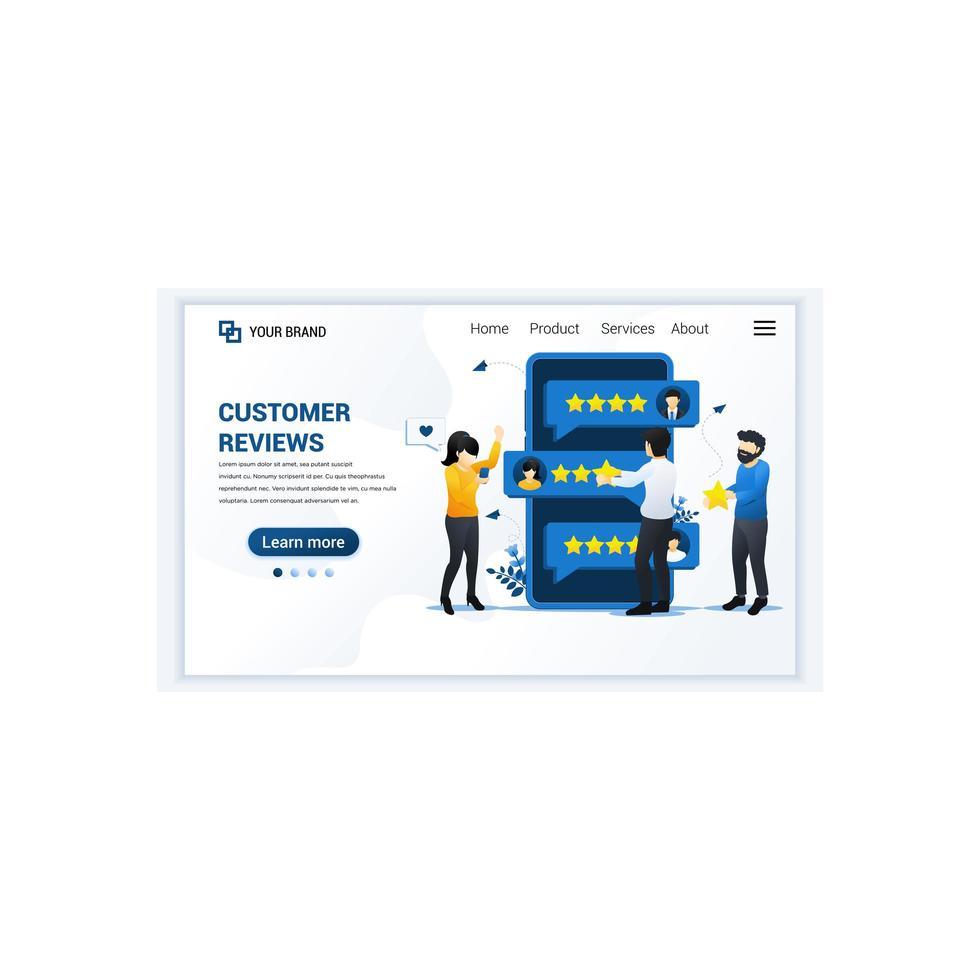 kundrecept koncept, människor som ger stjärnor betyg, feedback, tillfredsställelse och utvärdering. modern platt målsidesmalldesign för webbplats och mobilwebbplats. vektor illustration