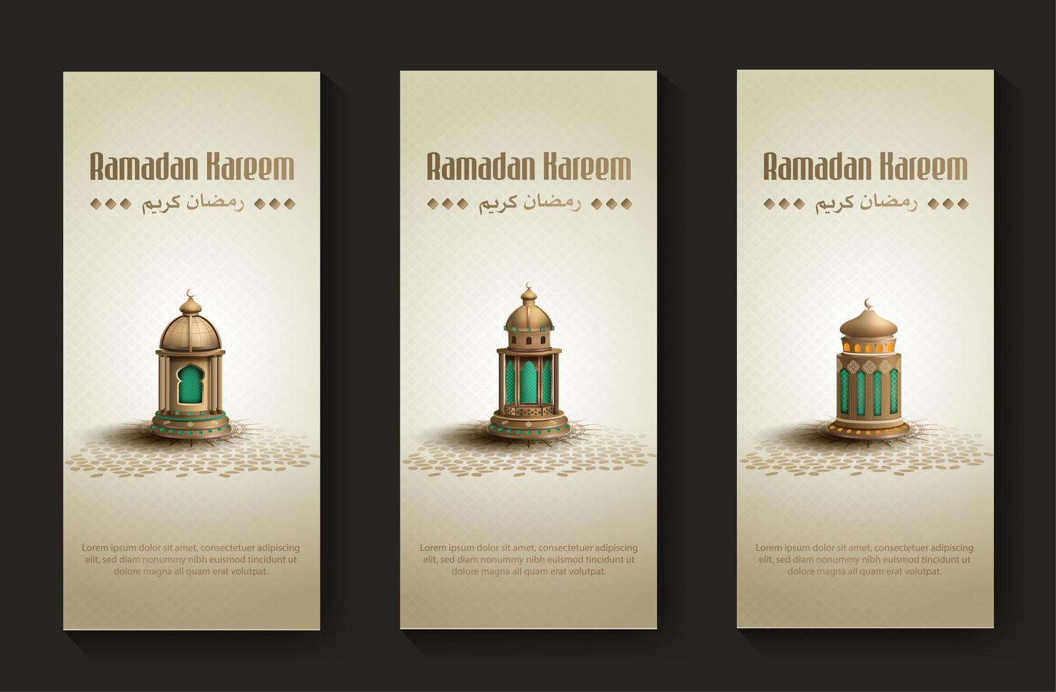 uppsättning islamiska hälsningar ramadan kareem kortmall med vackra gyllene lyktor vektor