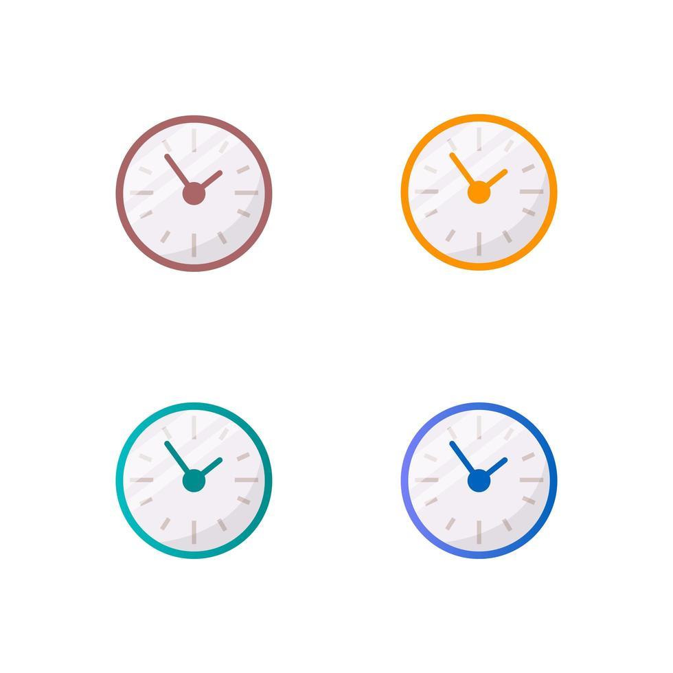 färgglada klockor platt objekt set vektor