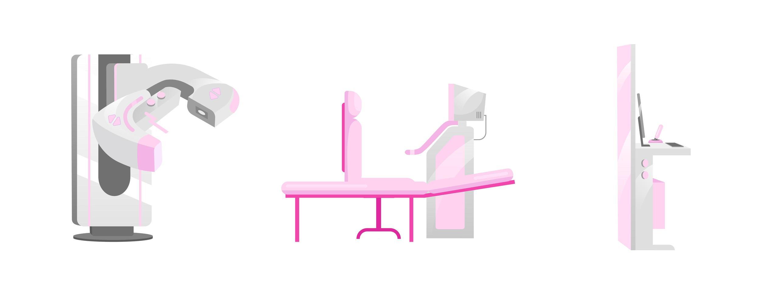 mammografi utrustning objekt set vektor