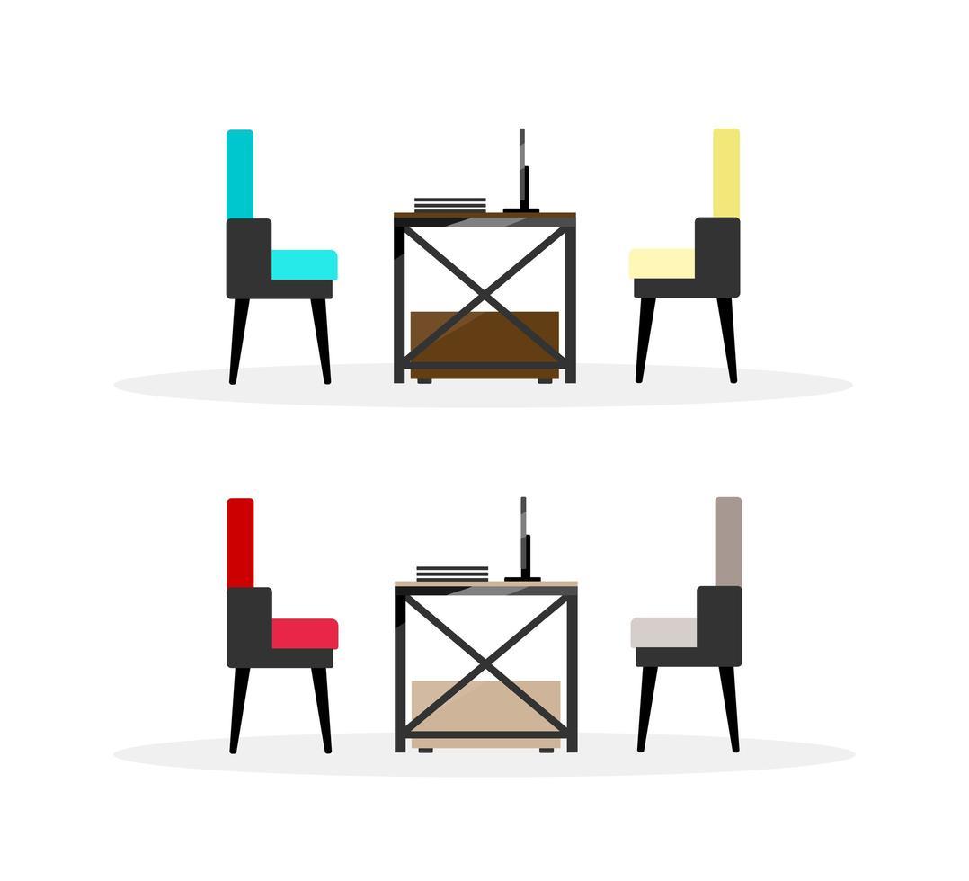 datorbord med stolar föremål vektor