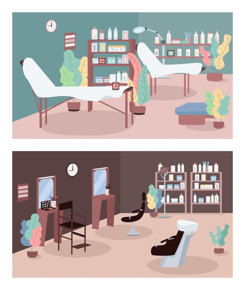 skönhetssalong platt färg vektor illustration set