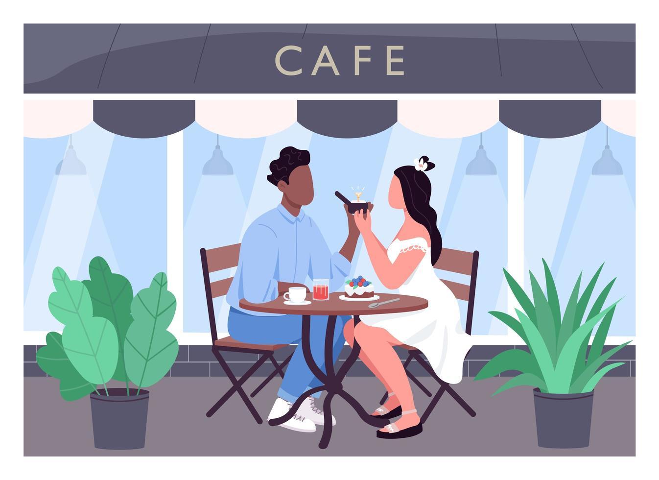 äktenskap förslag platt färg vektorillustration vektor
