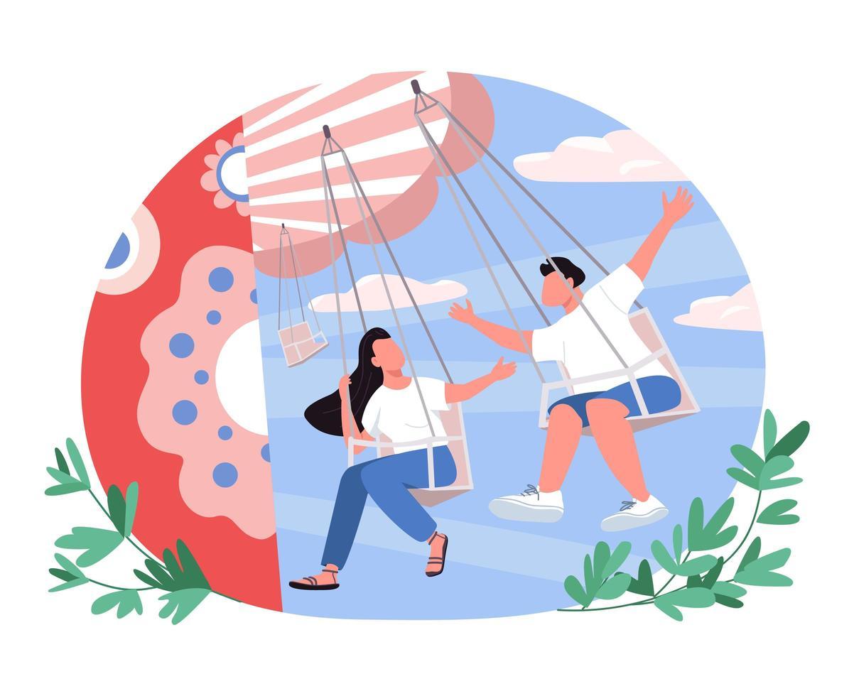 par i nöjespark 2d vektor webb banner, affisch