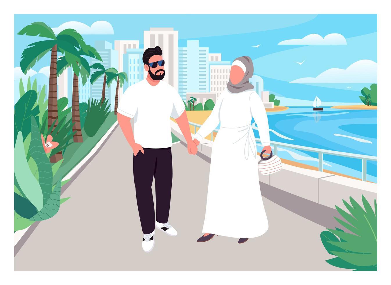 muslimsk familjesemester platt färg vektorillustration vektor