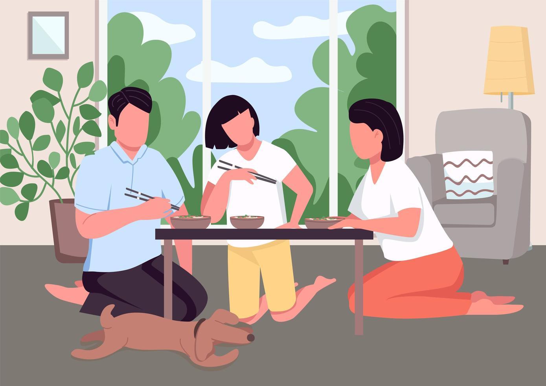 asiatisk familjemiddag platt färg vektorillustration vektor