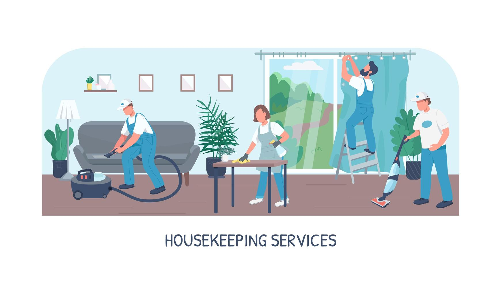 Housekeeping Services Banner flache Vektor-Vorlage vektor