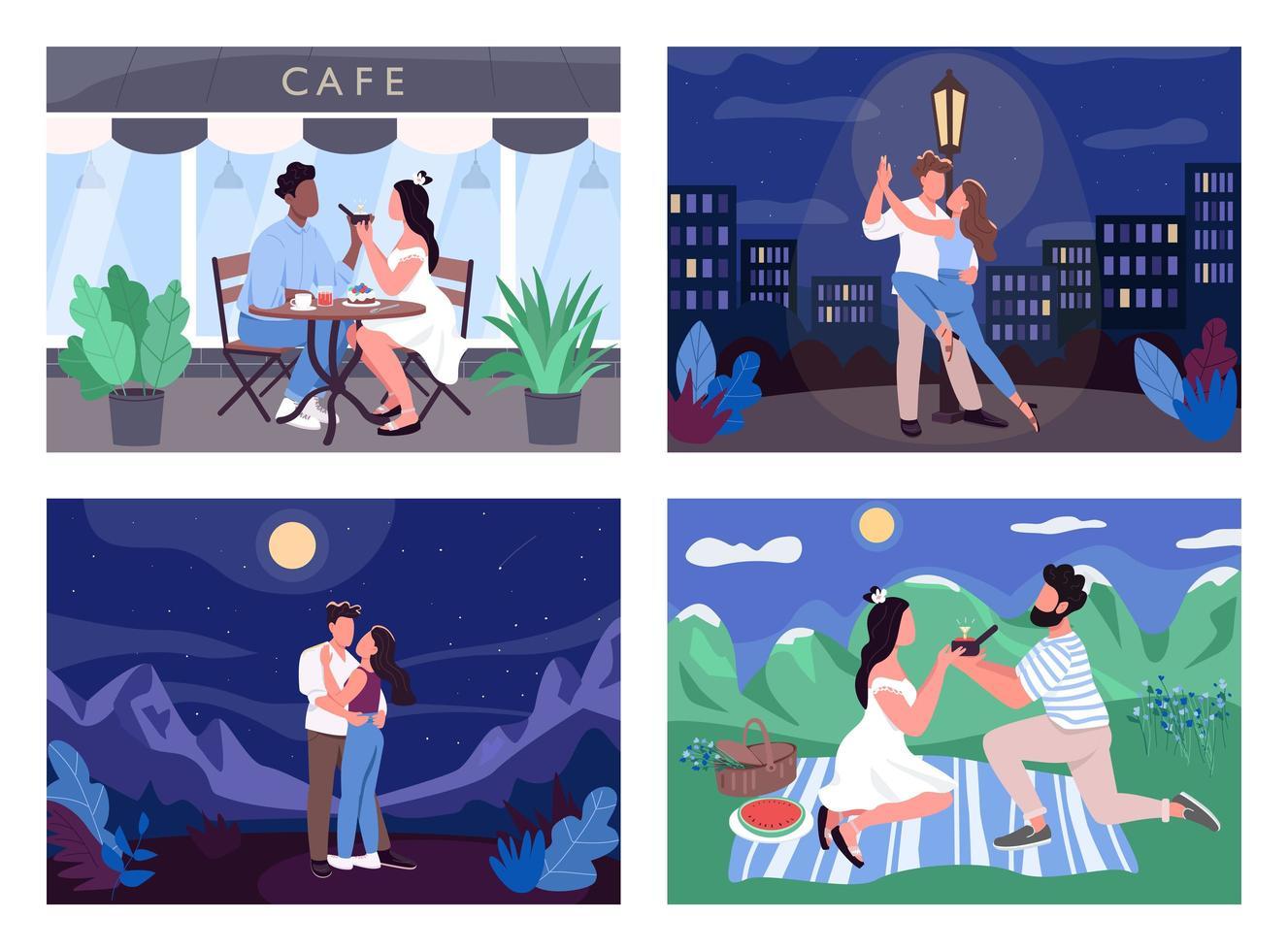 romantisk aktivitet platt färg vektor illustration set