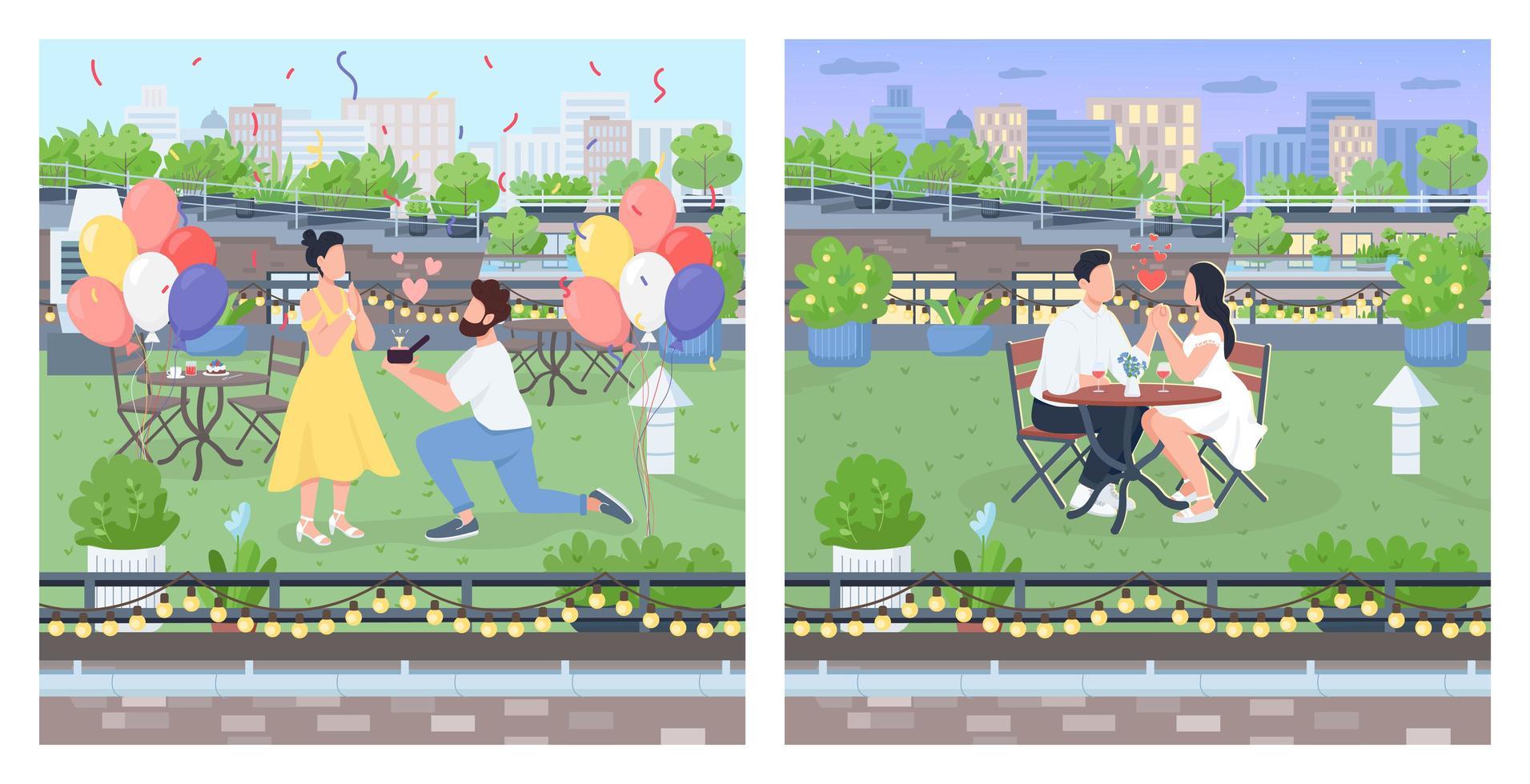 romantiska par datum platt färg vektor illustration set