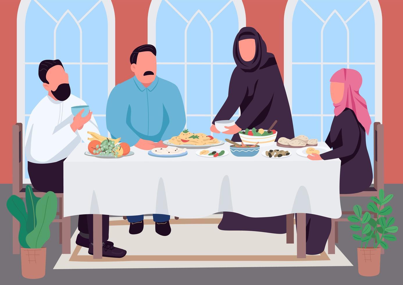 muslimsk familjemiddag platt färg vektorillustration vektor
