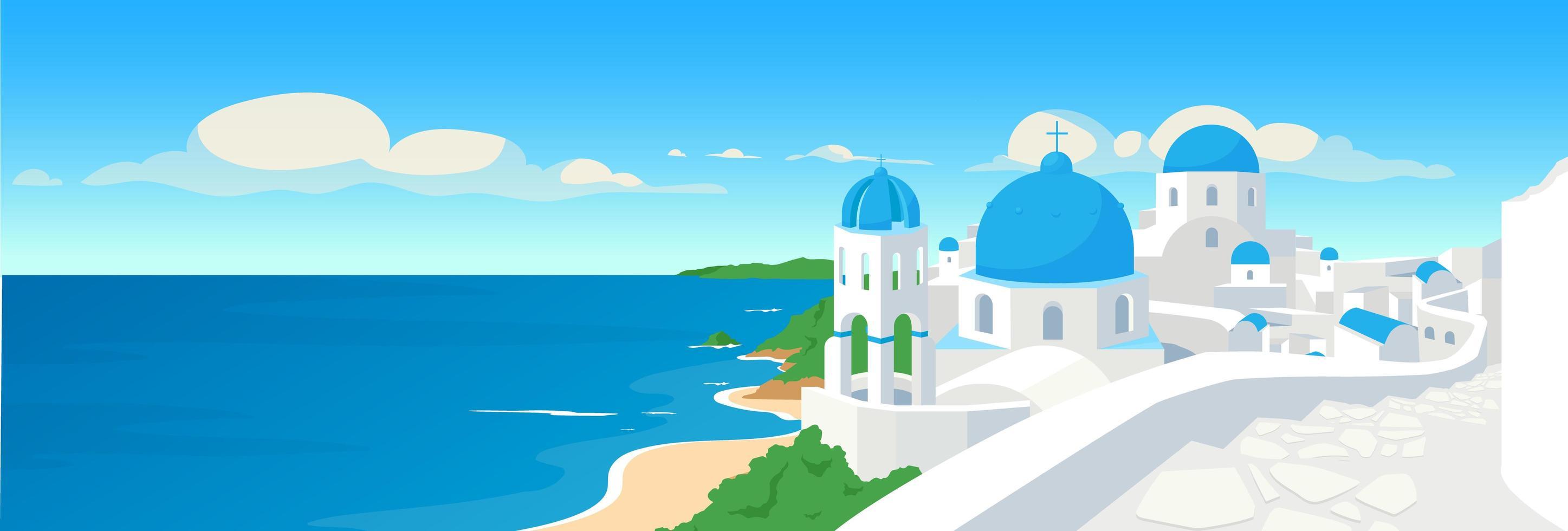grekisk kuststad platt färg vektorillustration vektor