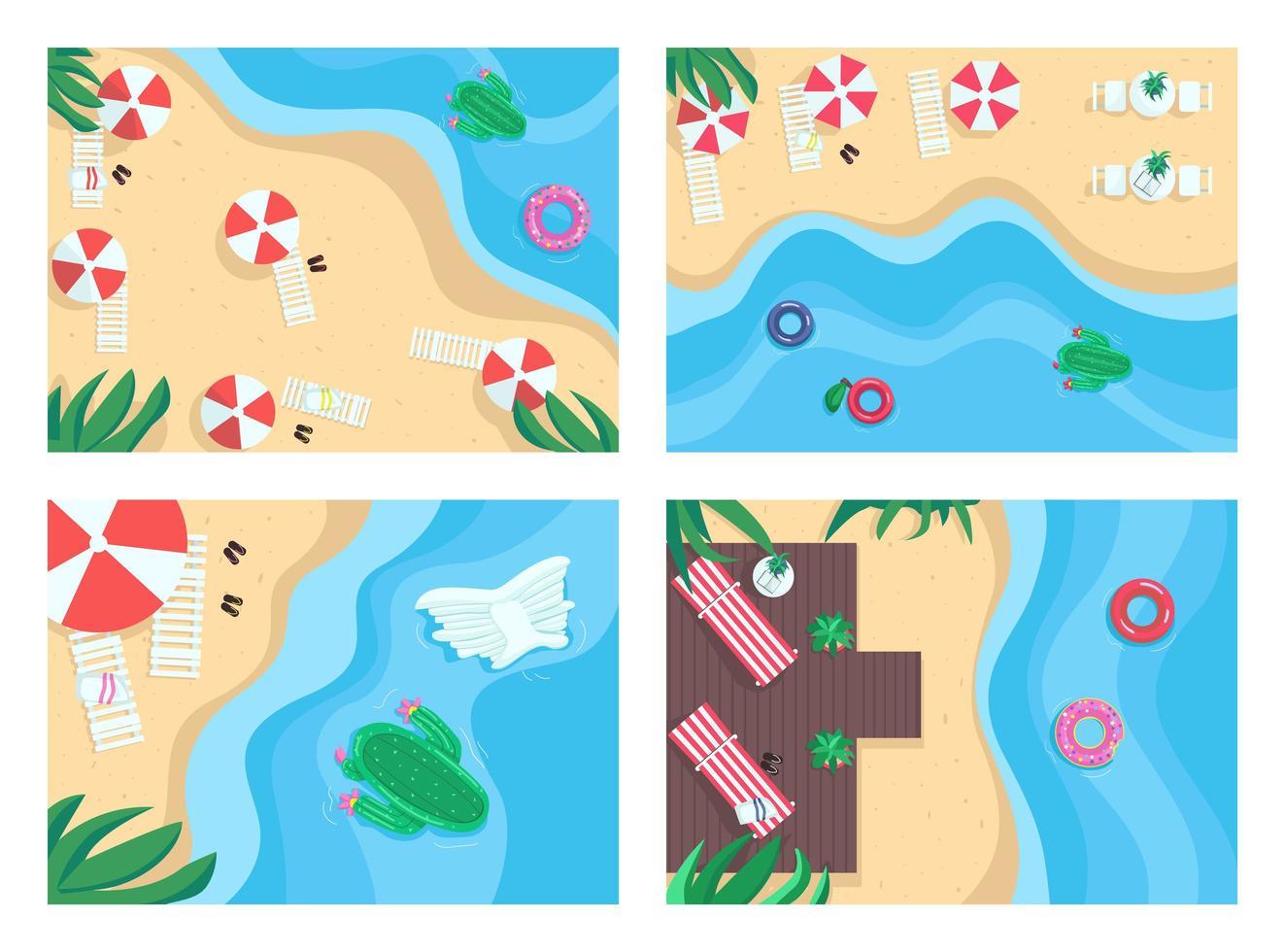 sandstränder platt färg vektor illustration set