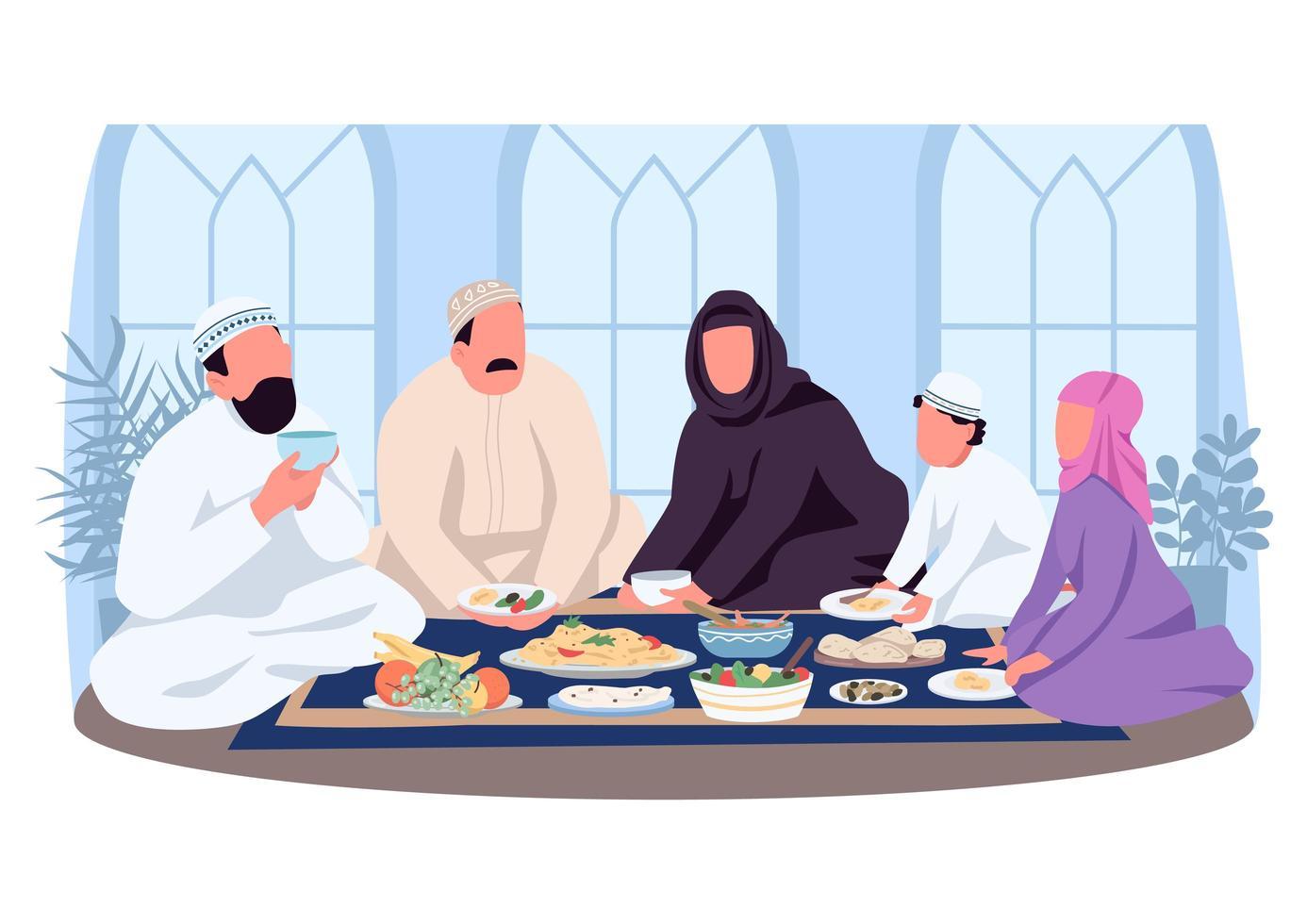 muslimsk traditionell middag 2d vektor webbbanner, affisch