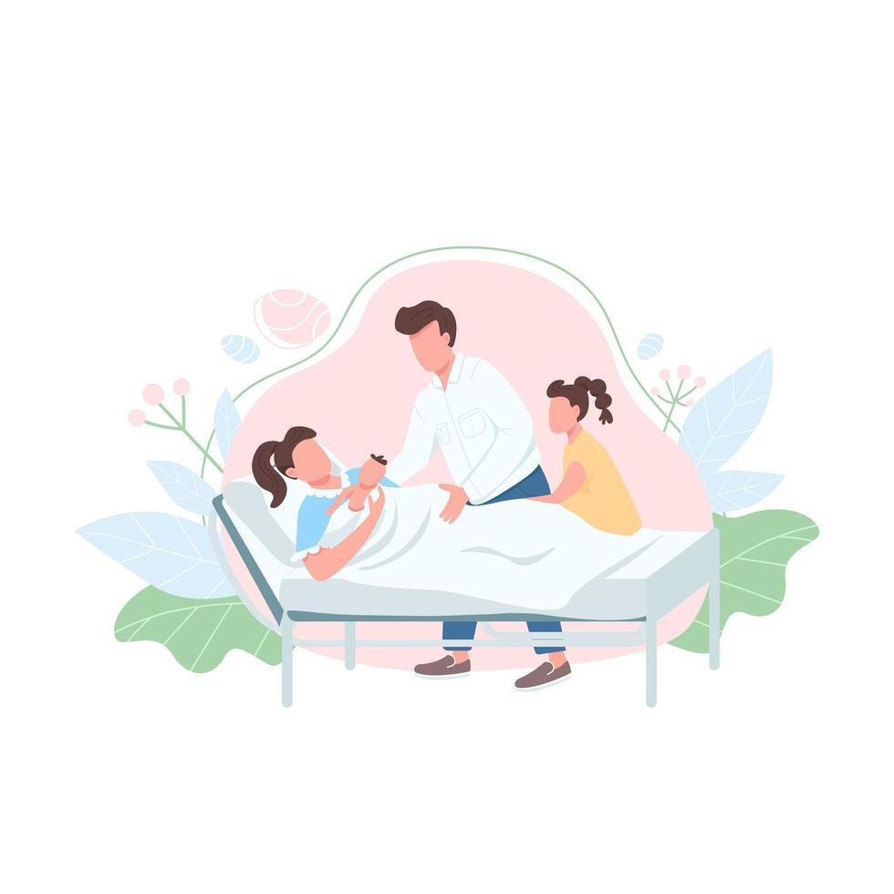familj med baby platt färg vektor ansiktslös karaktär