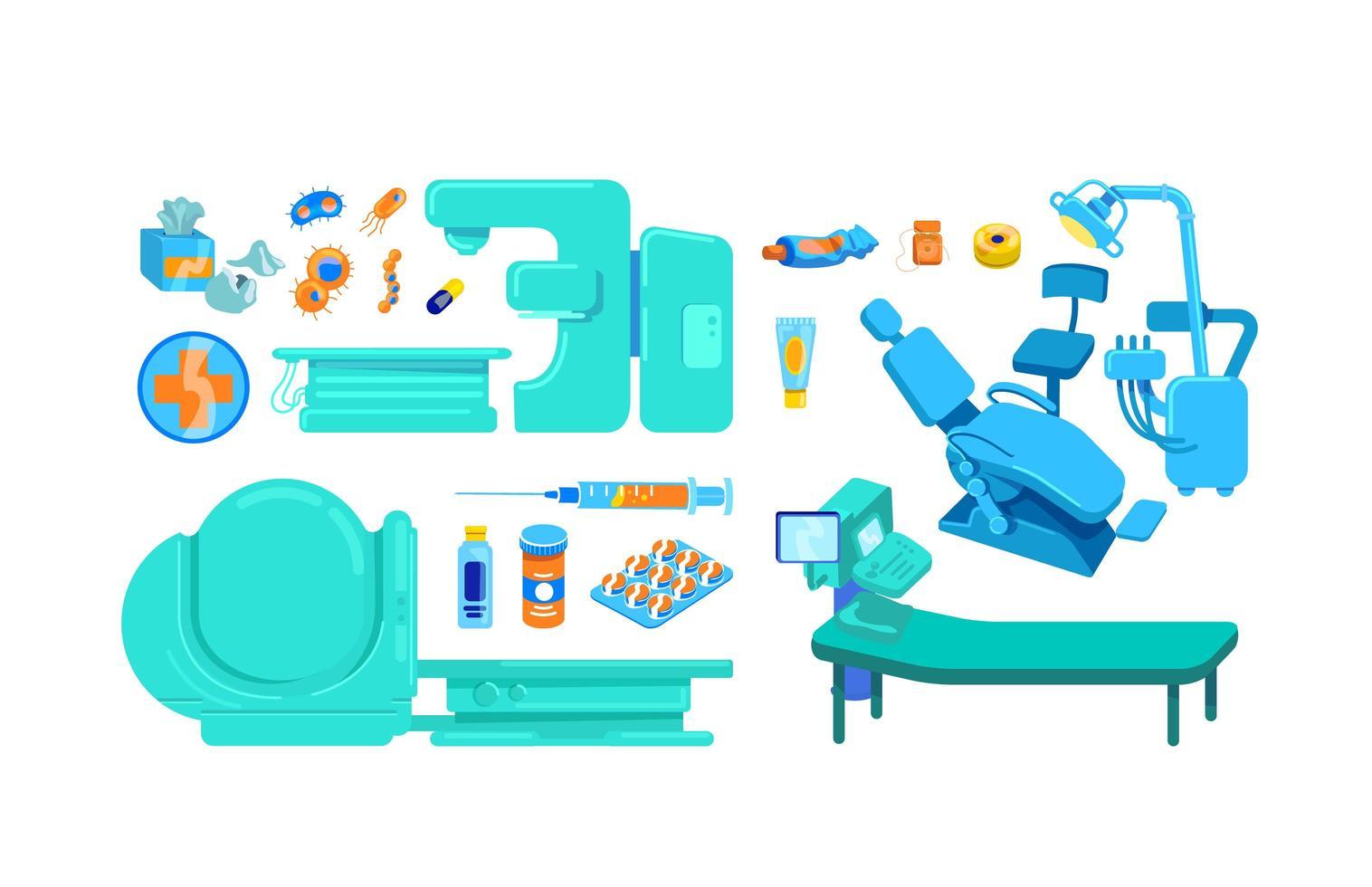 klinik utrustning platt färg vektor objekt set