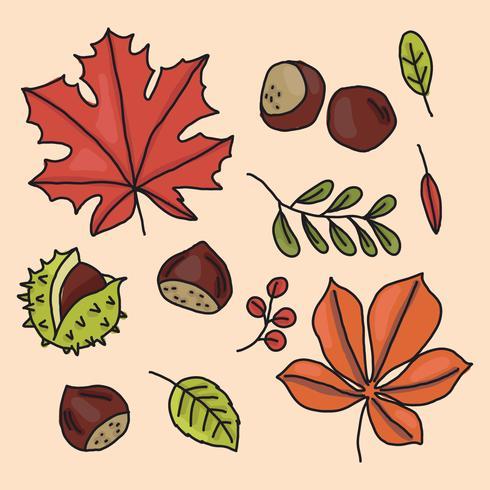 doodled design leaves vektor