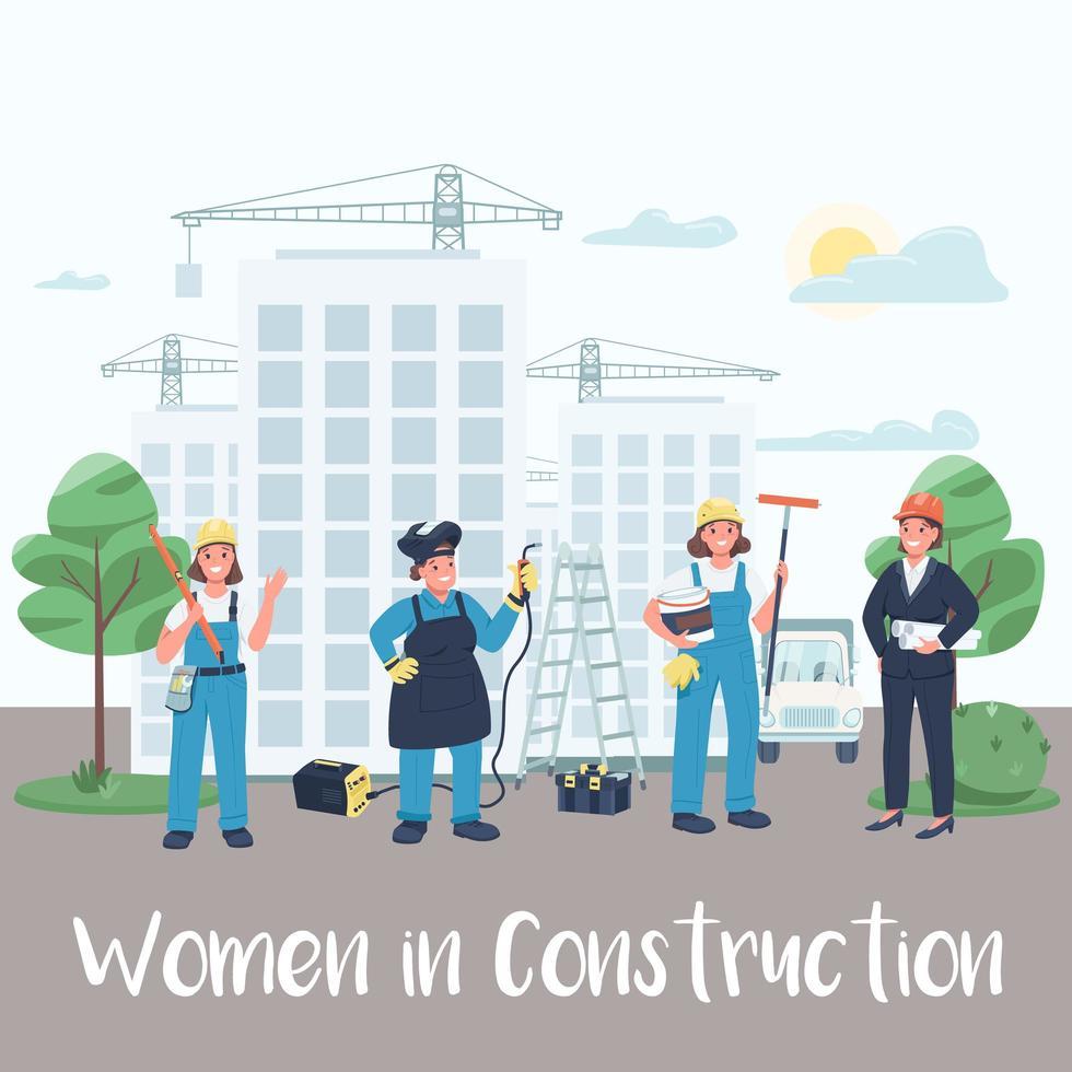 weibliche Baustellenarbeiter postieren vektor