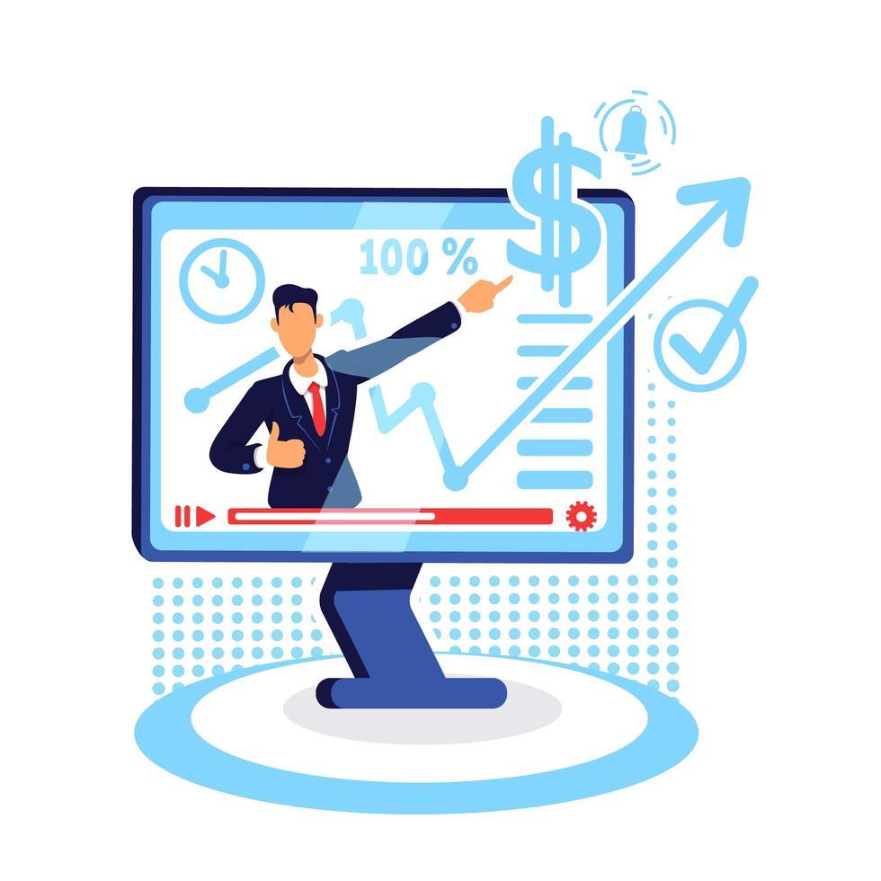 online marknadsföring handledning platt koncept vektorillustration vektor