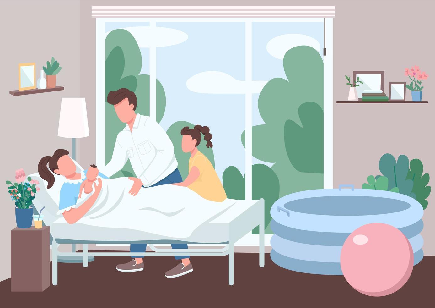 familjestöd för förlossning platt färg vektorillustration vektor