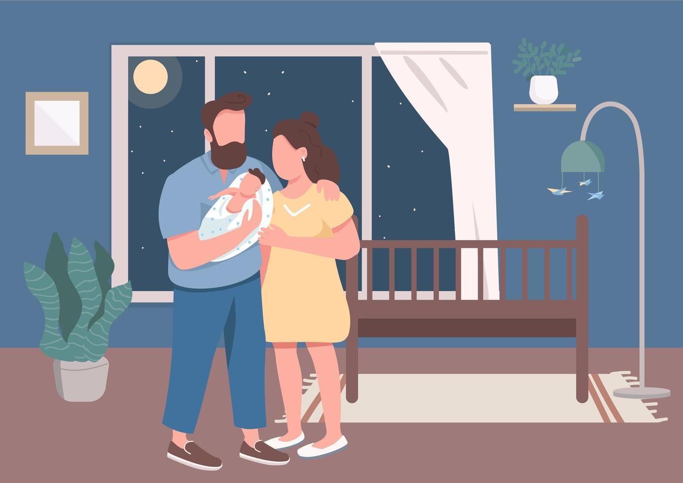 unga föräldrar med spädbarn platt färg vektorillustration vektor