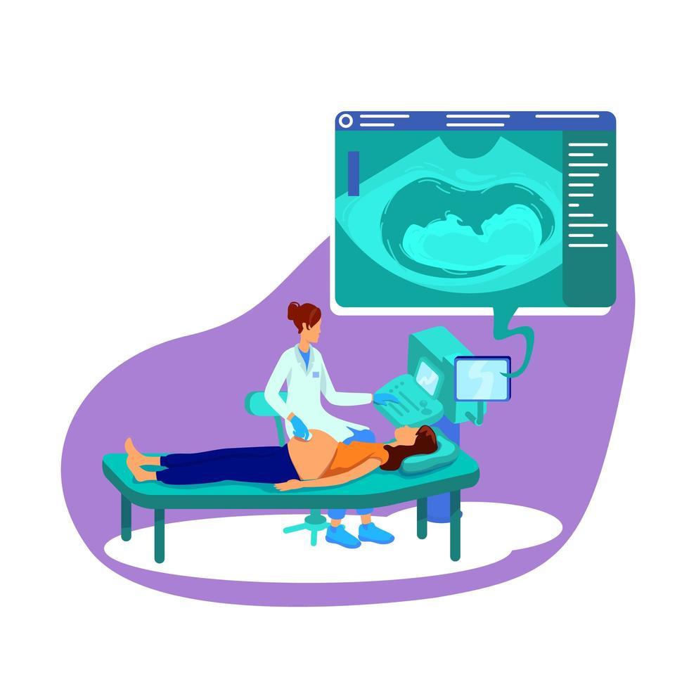 ultraljud för gravid kvinna platt koncept vektorillustration vektor